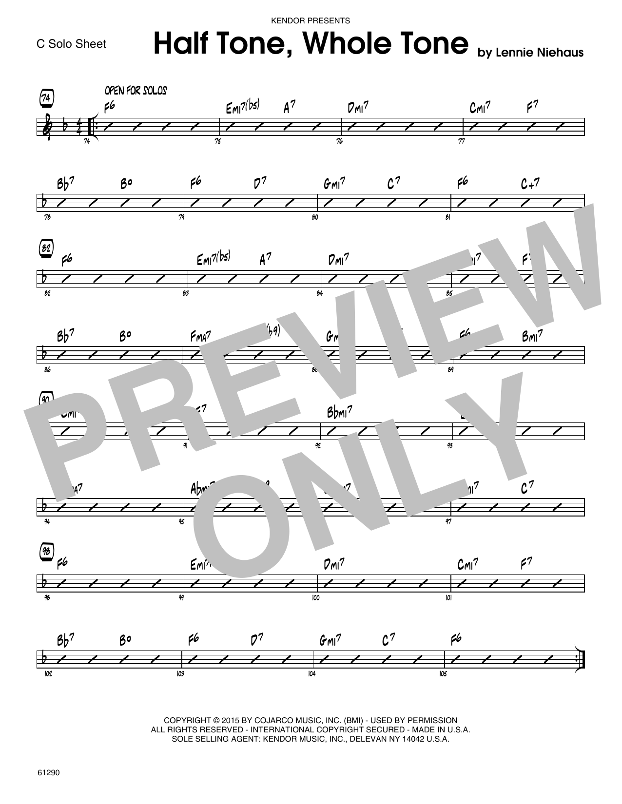 Half Tone, Whole Tone - C Solo Sheet Sheet Music
