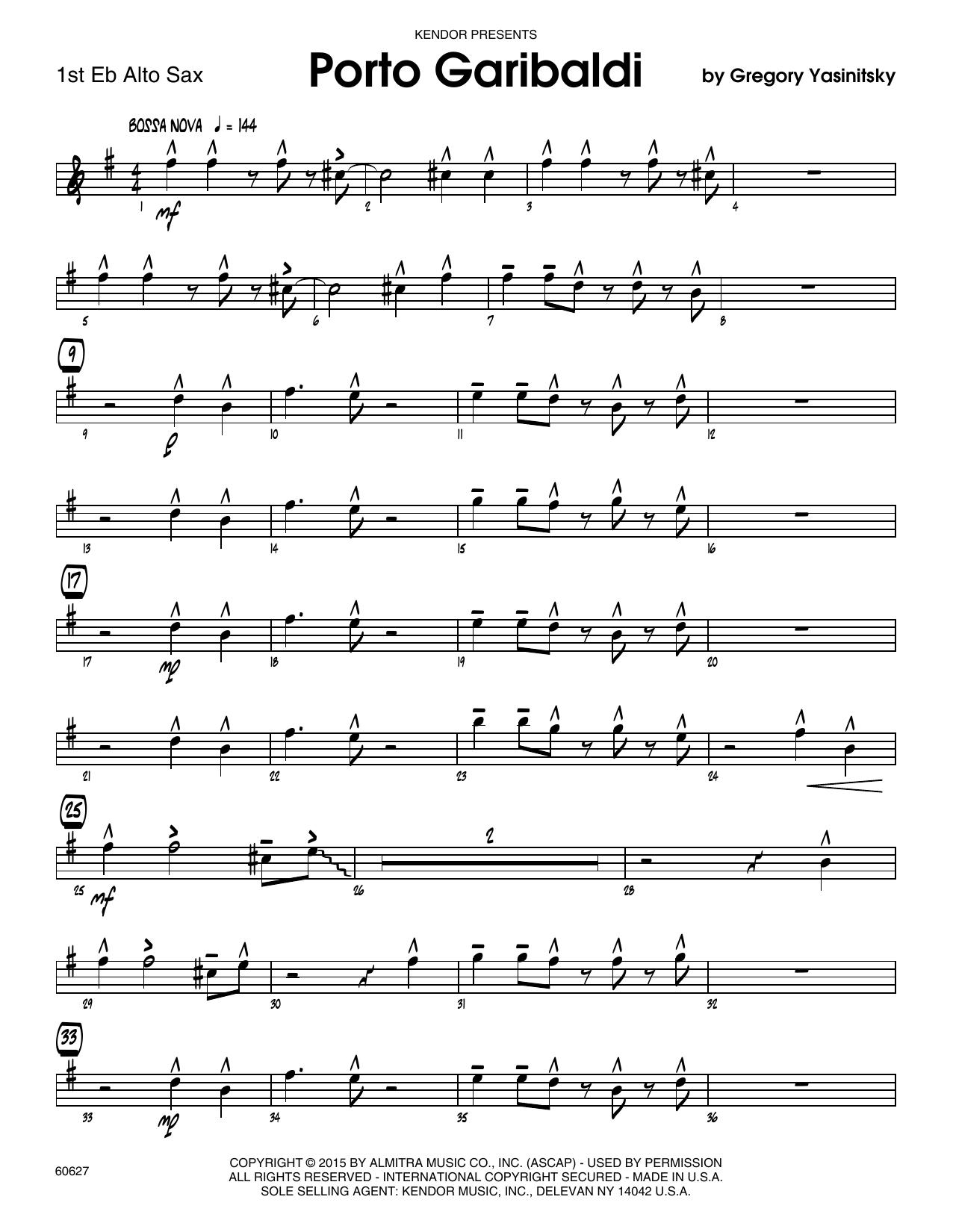 Porto Garibaldi - 1st Eb Alto Saxophone Sheet Music
