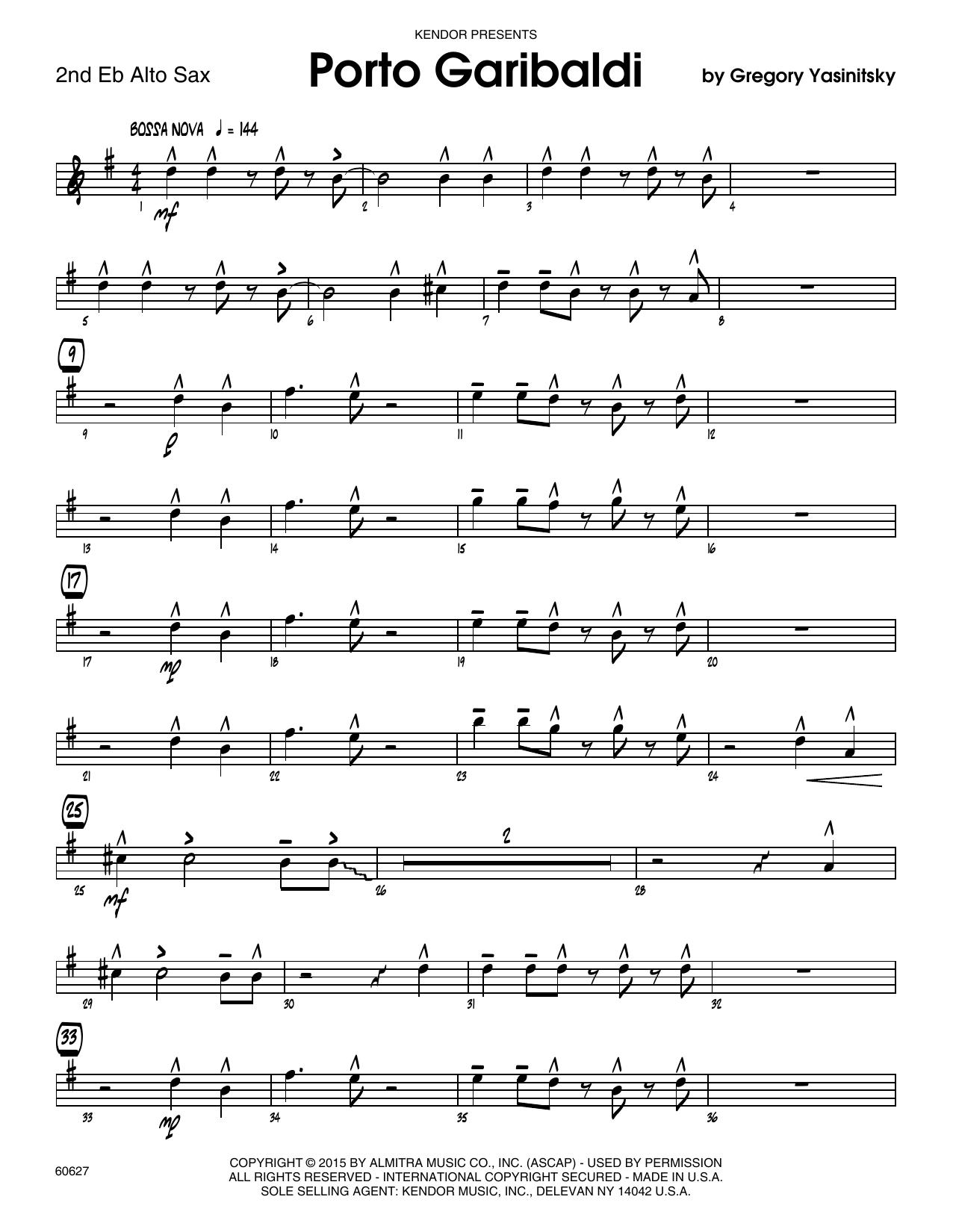 Porto Garibaldi - 2nd Eb Alto Saxophone Sheet Music