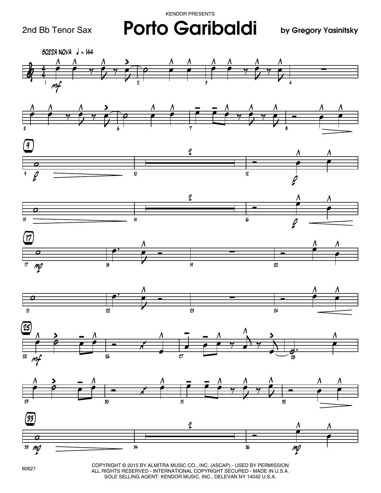 Porto Garibaldi - 2nd Bb Tenor Saxophone Sheet Music