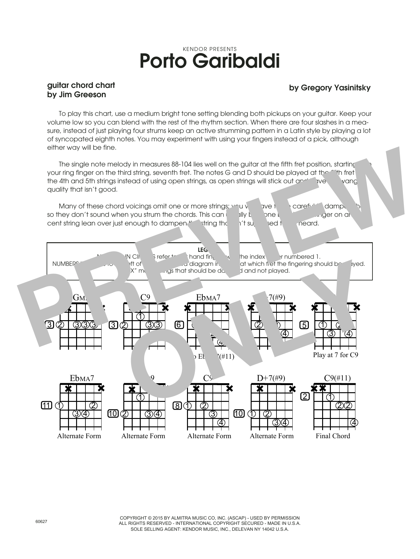Porto Garibaldi - Guitar Chord Chart Sheet Music