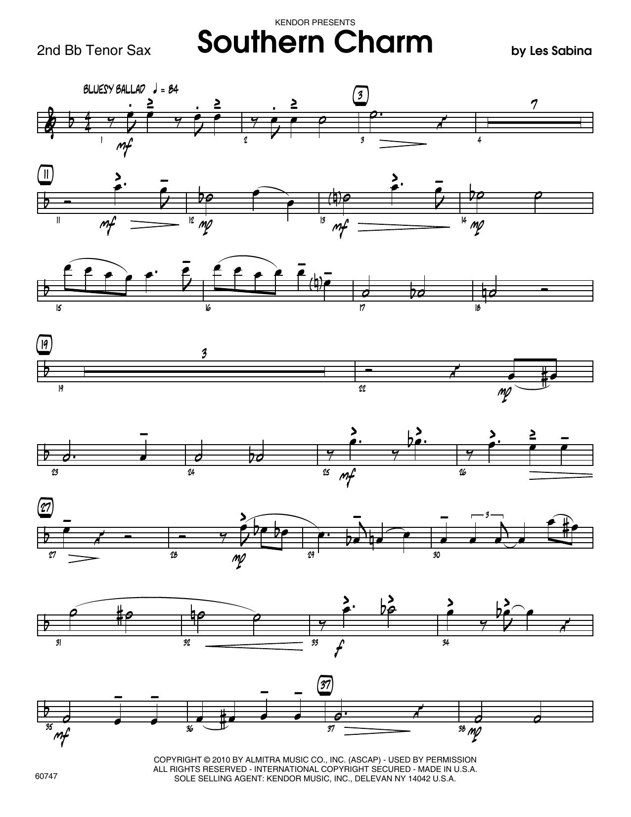 Southern Charm - 2nd Bb Tenor Saxophone Sheet Music