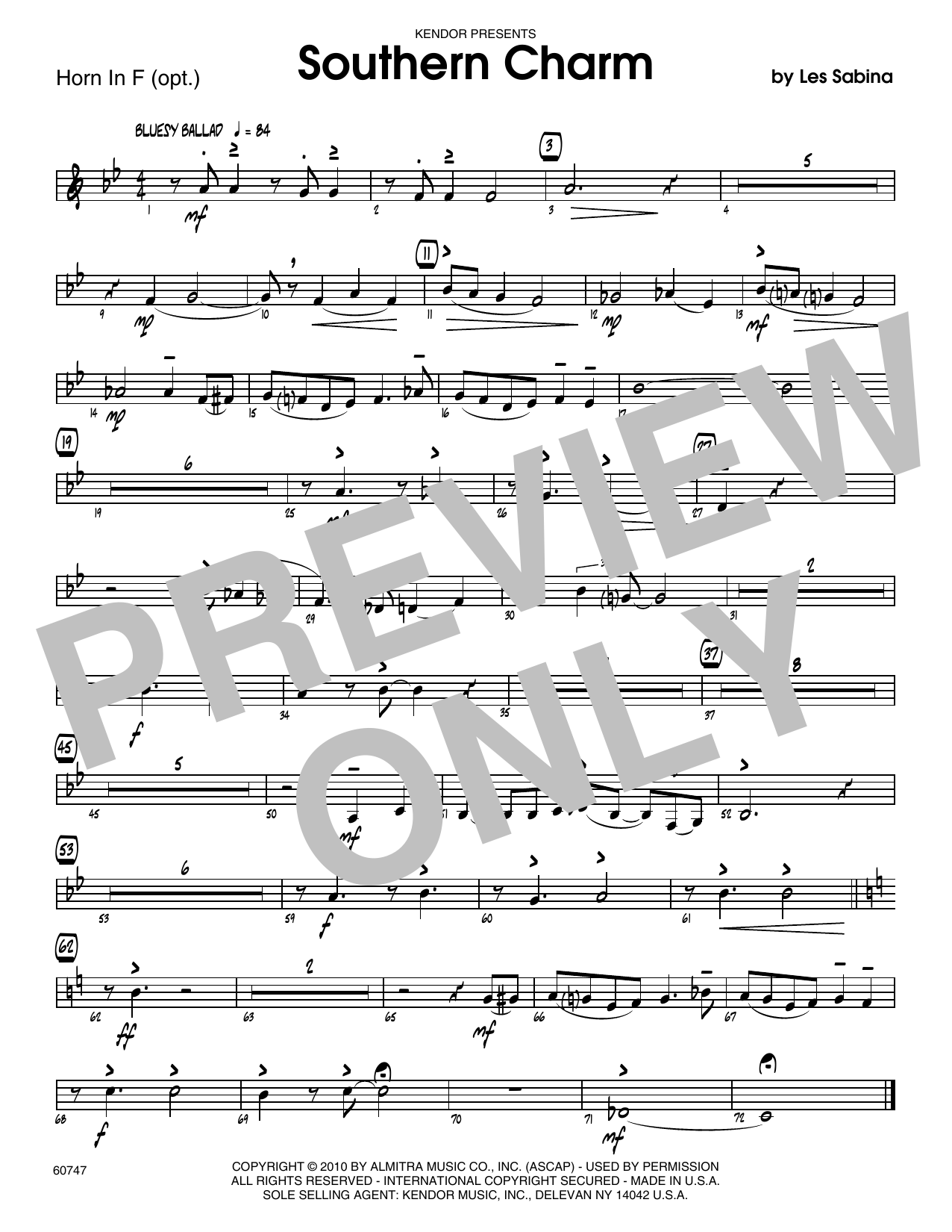 Southern Charm - Horn in F Sheet Music