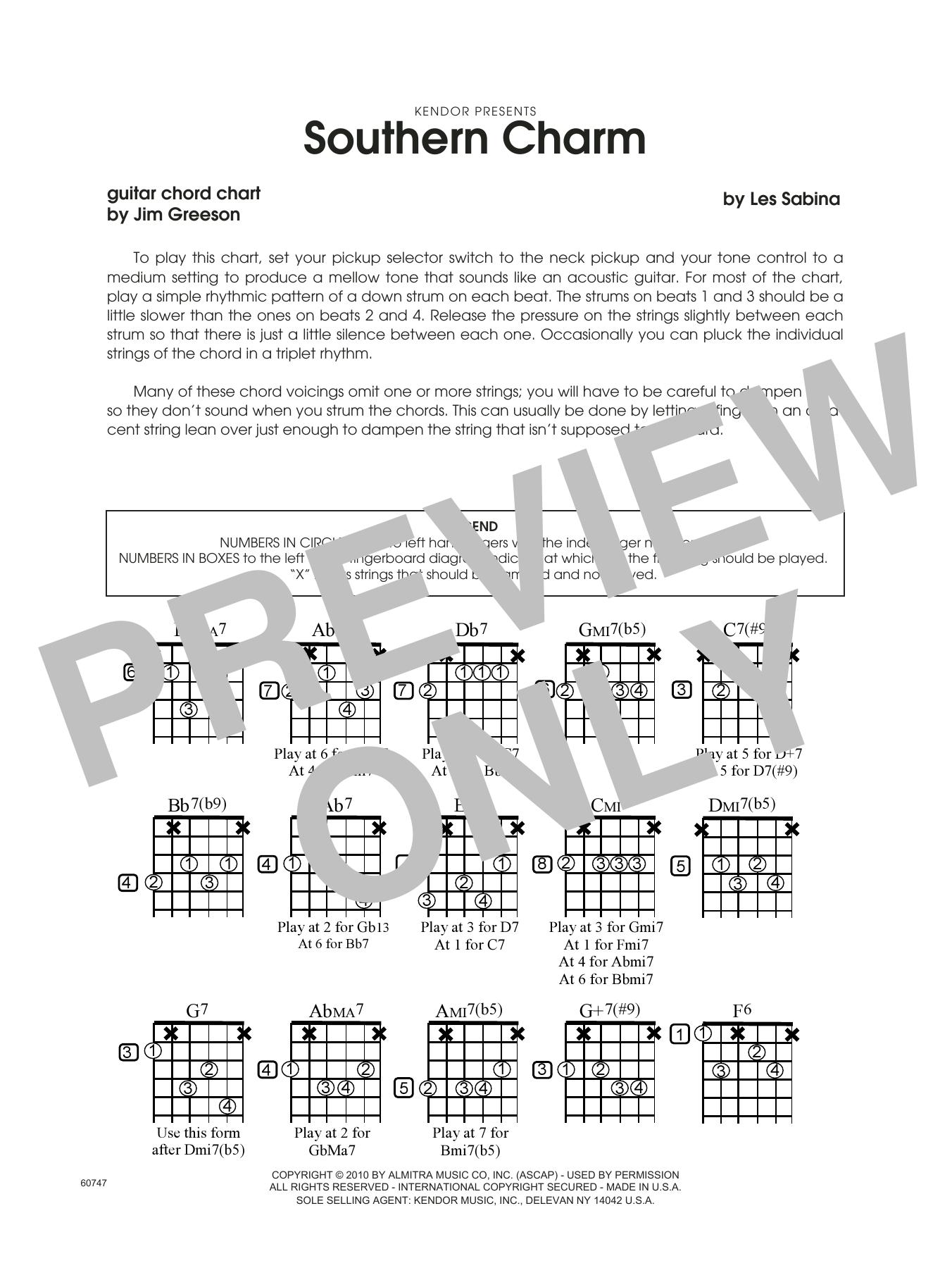 Southern Charm - Guitar Chord Chart Sheet Music