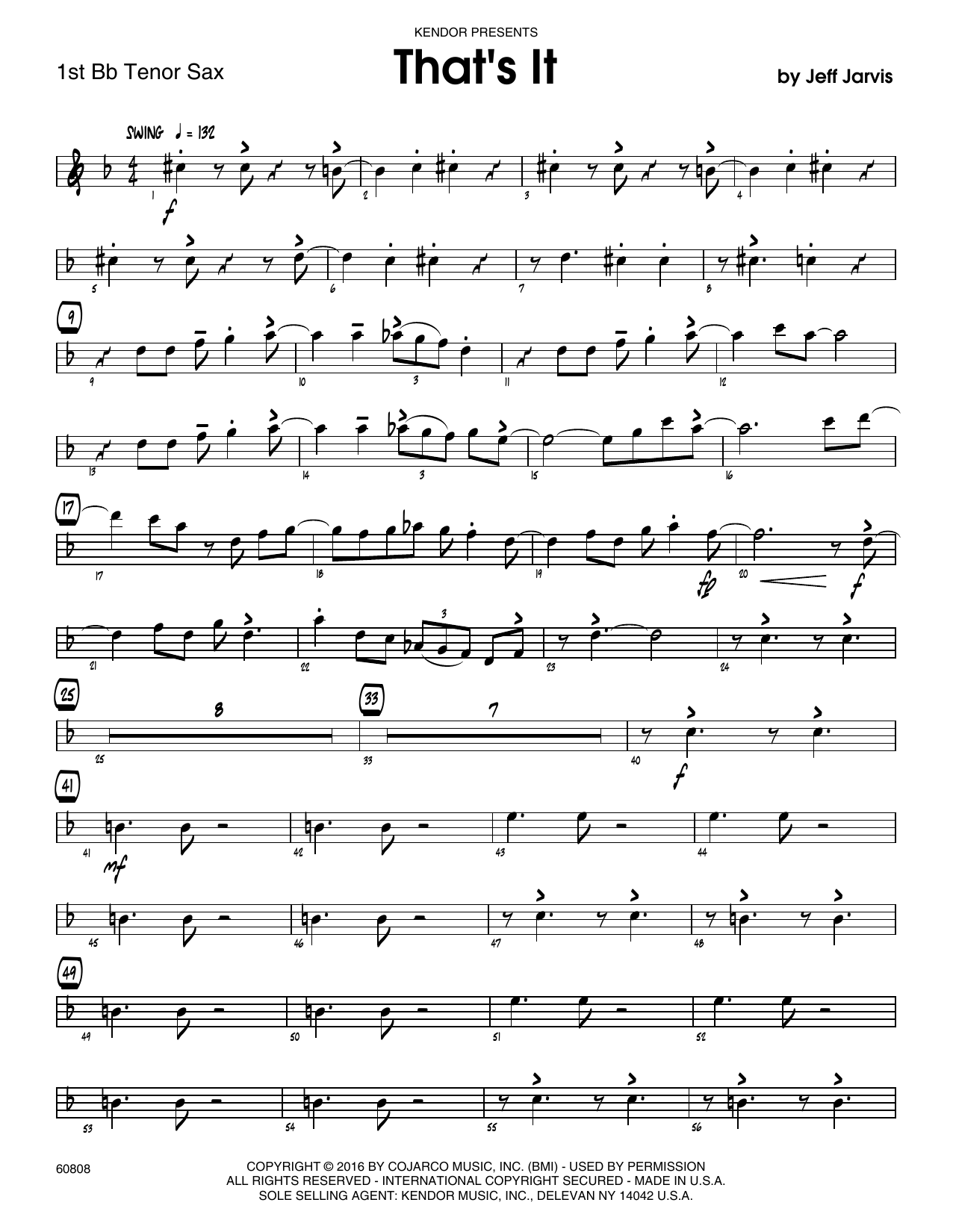 That's It - 1st Tenor Saxophone Sheet Music