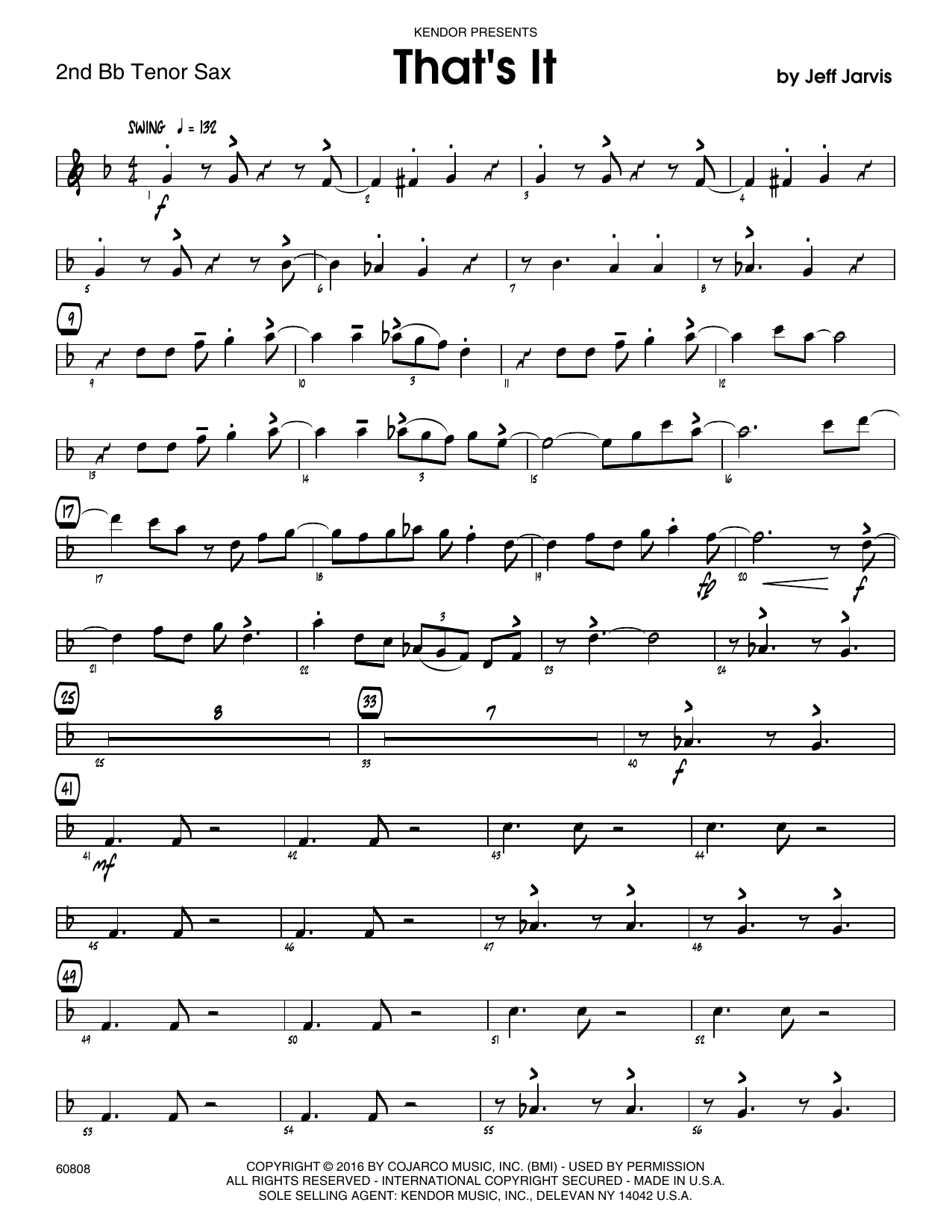 That's It - 2nd Bb Tenor Saxophone Sheet Music