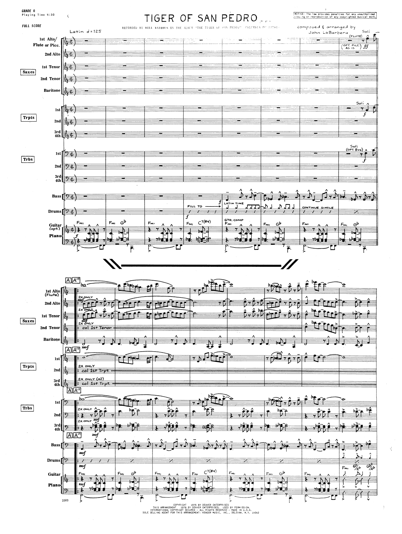 Tiger Of San Pedro (COMPLETE) sheet music for jazz band by John La Barbera. Score Image Preview.
