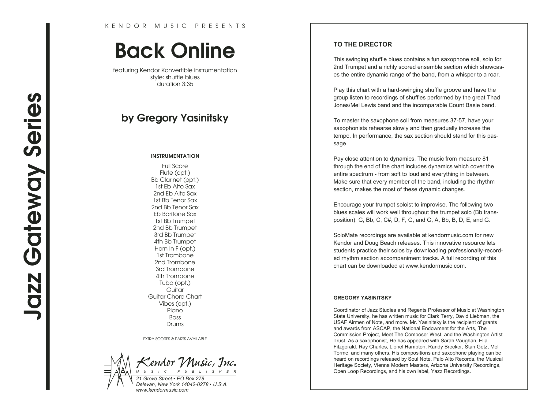 Back Online (COMPLETE) sheet music for jazz band by Gregory Yasinitsky. Score Image Preview.
