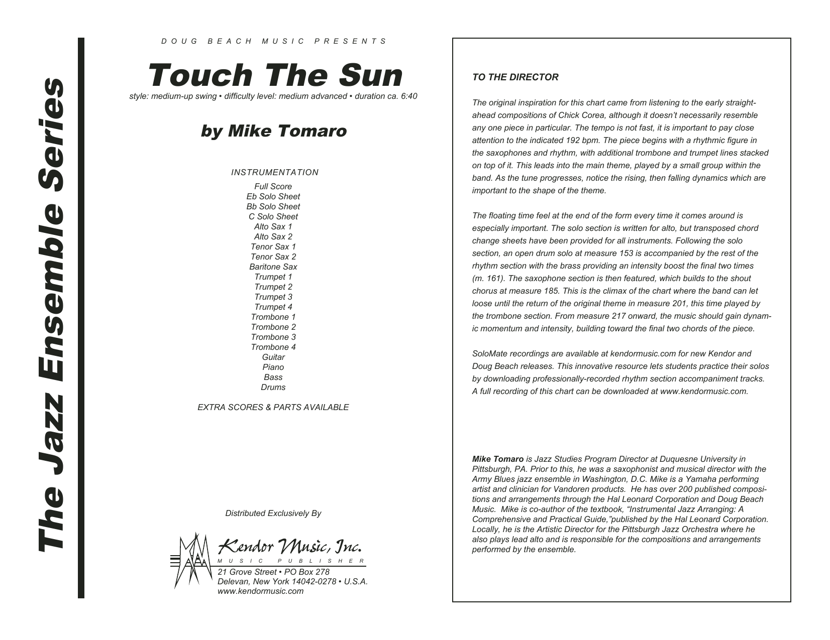 Touch The Sun (COMPLETE) sheet music for jazz band by Mike Tomaro. Score Image Preview.
