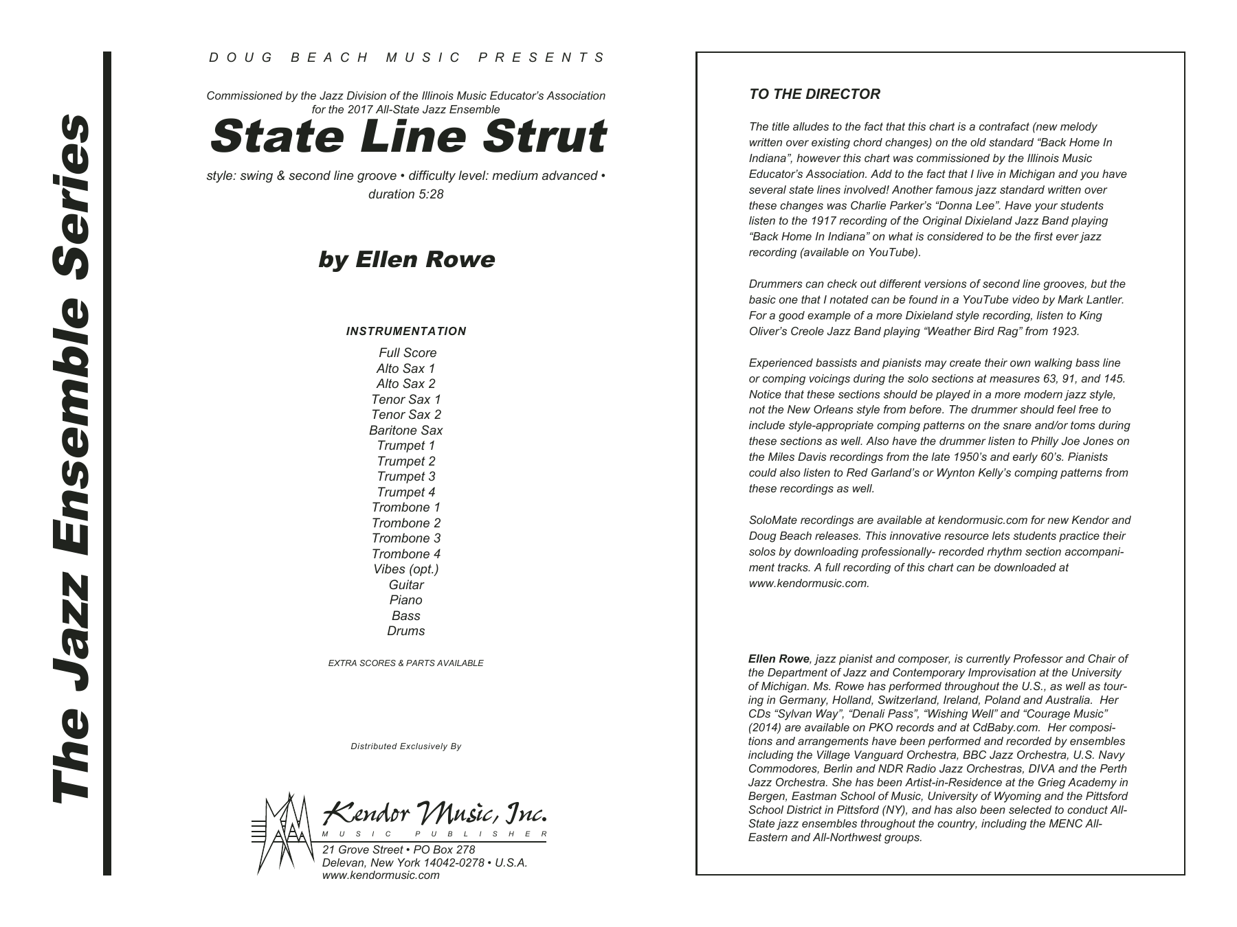 State Line Strut (COMPLETE) sheet music for jazz band by Ellen Row. Score Image Preview.