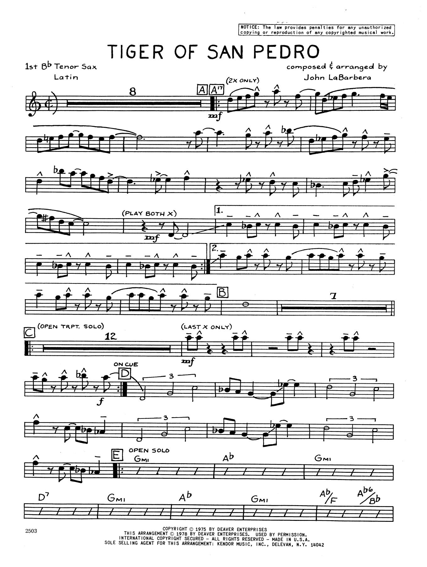Tiger Of San Pedro - 1st Tenor Saxophone Sheet Music