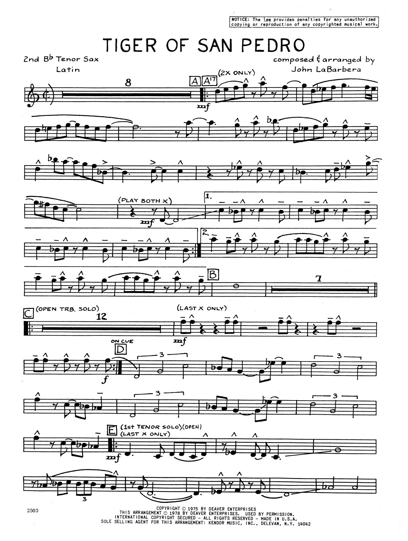 Tiger Of San Pedro - 2nd Bb Tenor Saxophone Sheet Music