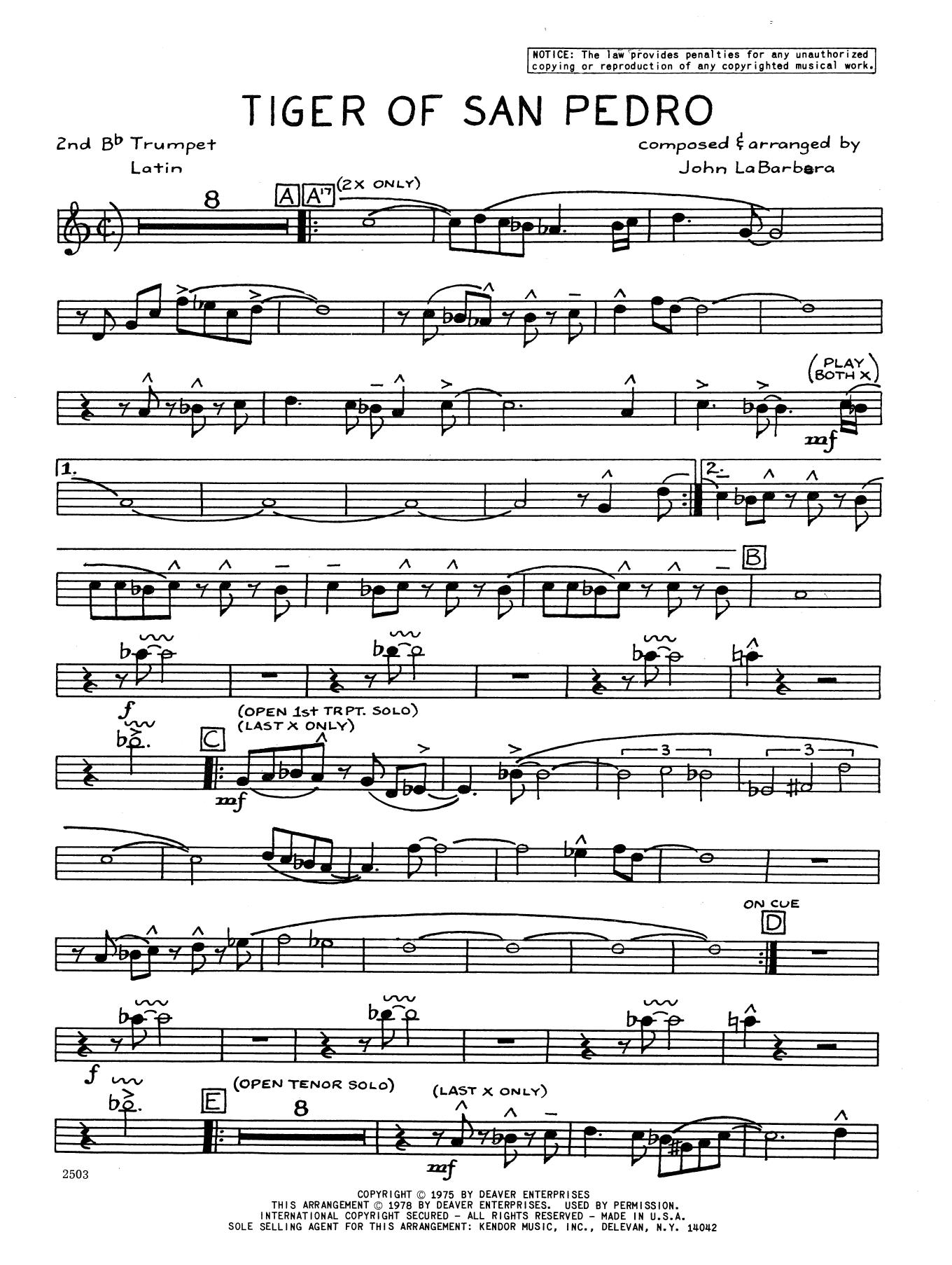 Tiger Of San Pedro - 2nd Bb Trumpet Sheet Music