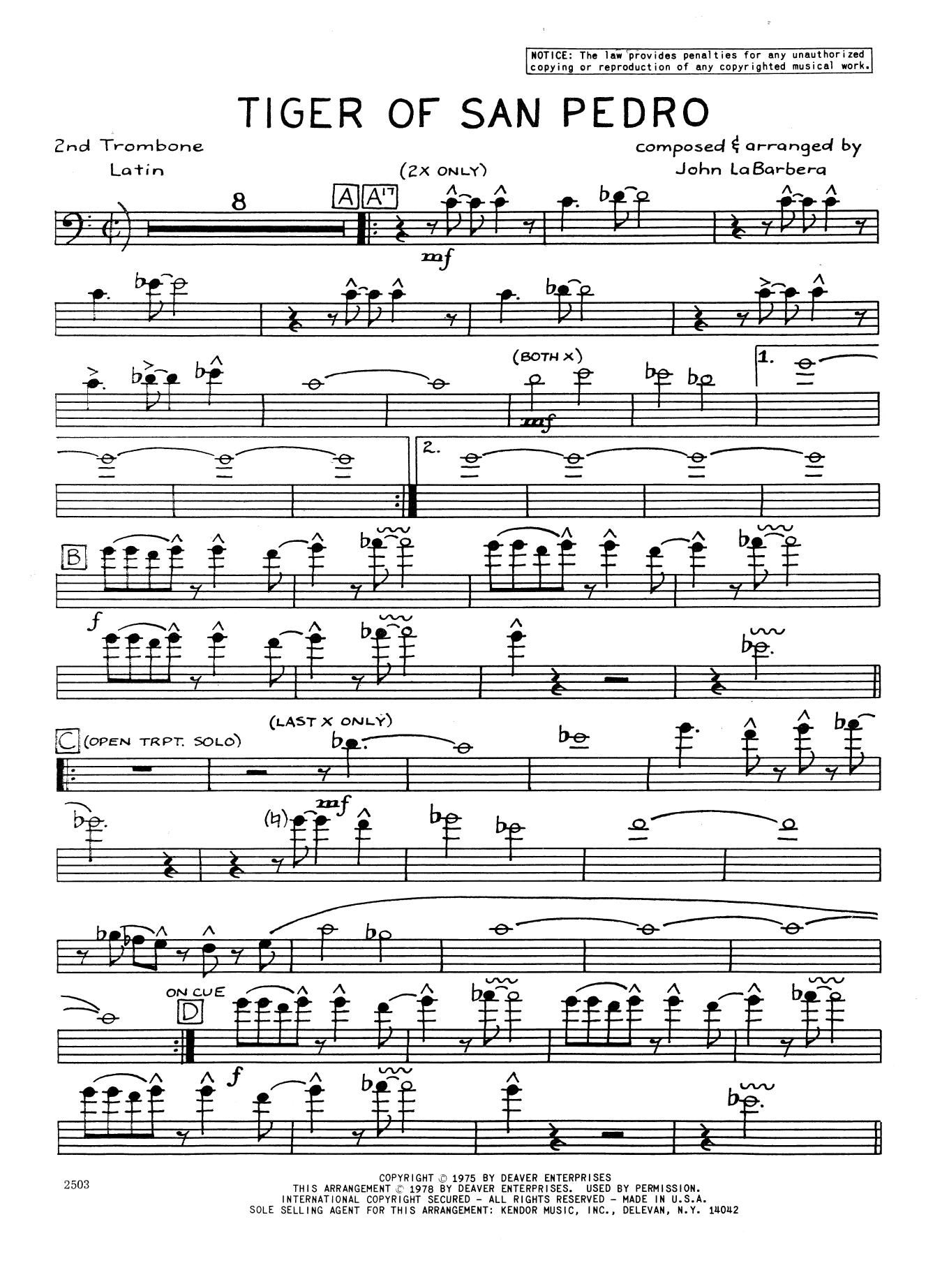 Tiger Of San Pedro - 2nd Trombone Sheet Music