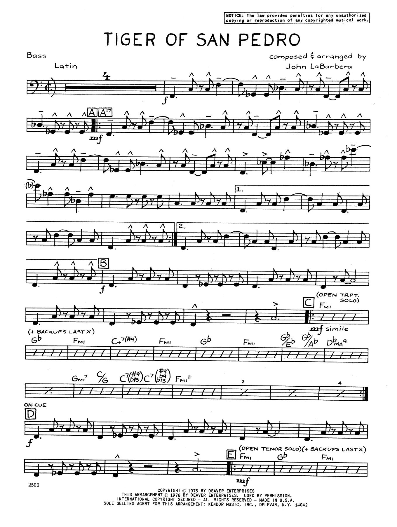 Tiger Of San Pedro - Bass Sheet Music