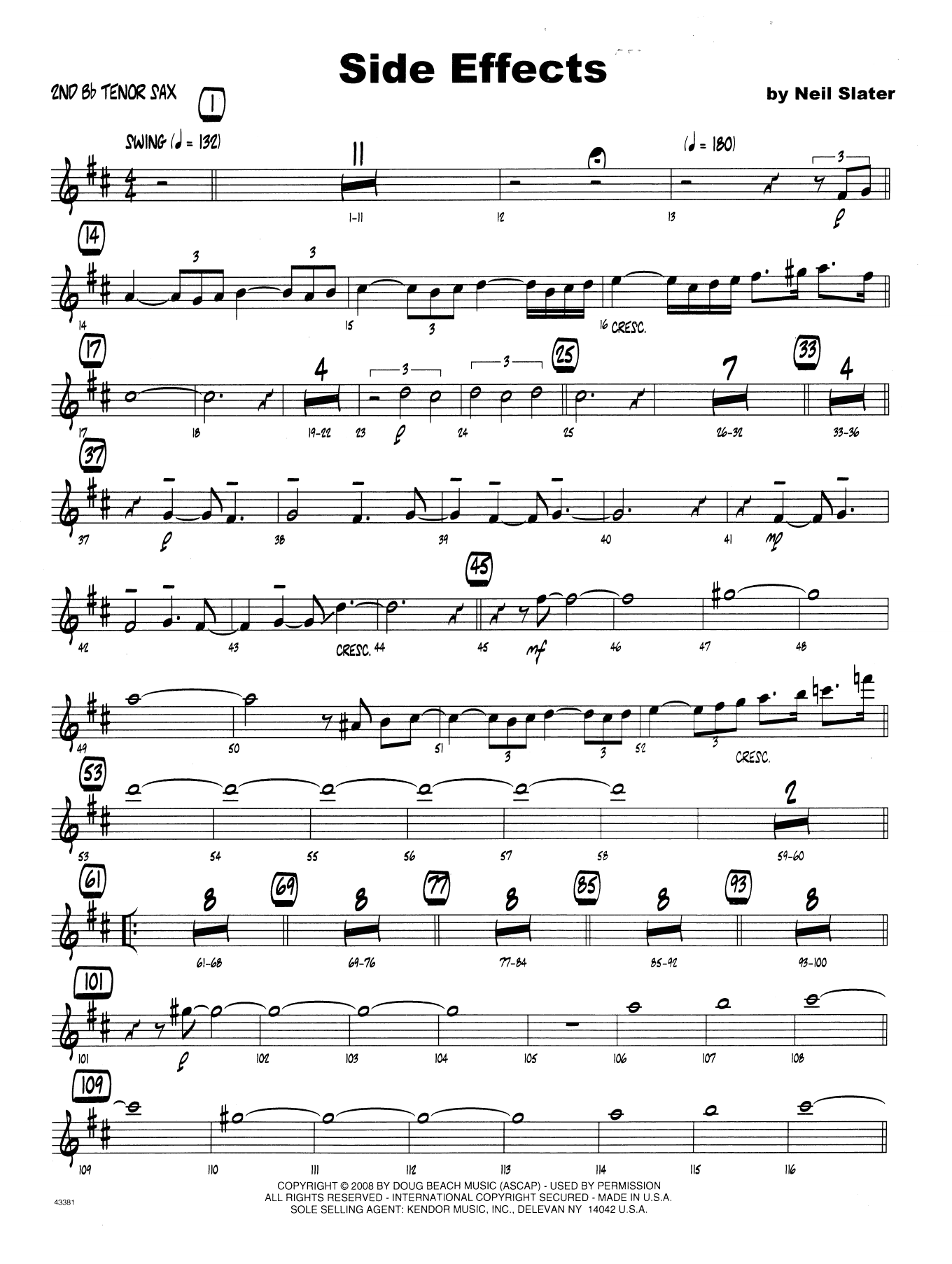 Side Effects - 2nd Bb Tenor Saxophone Sheet Music