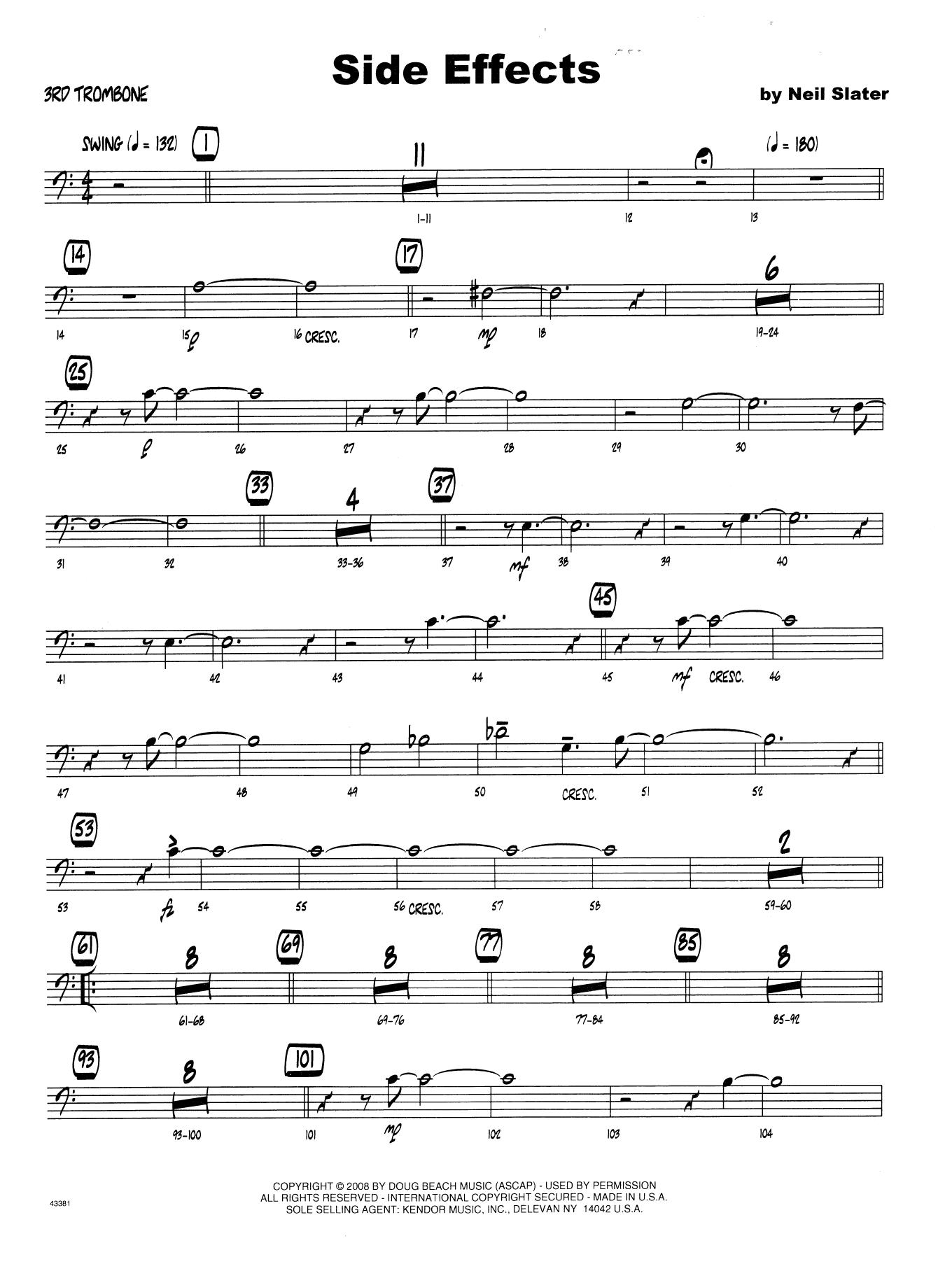 Side Effects - 3rd Trombone Sheet Music