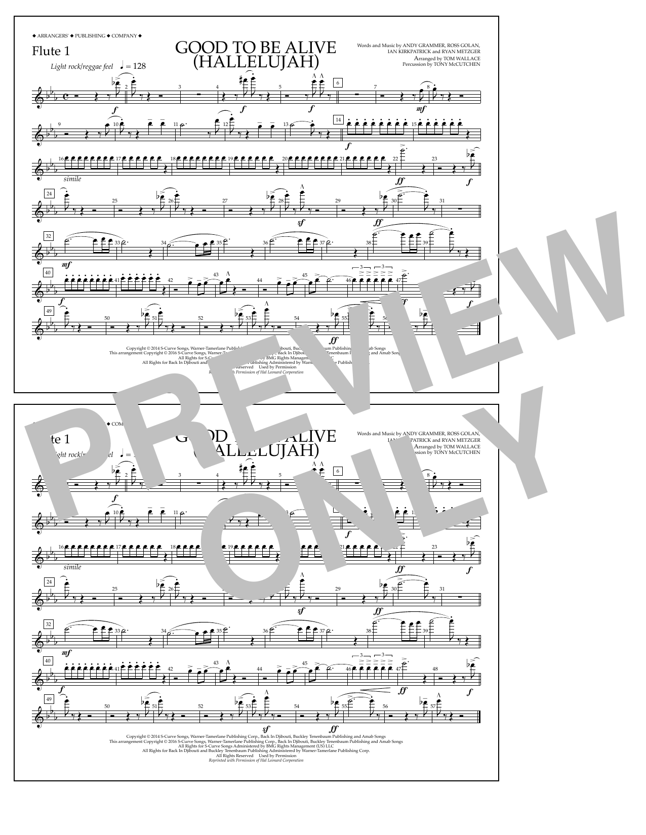 Good to Be Alive (Hallelujah) - Flute 1 Sheet Music