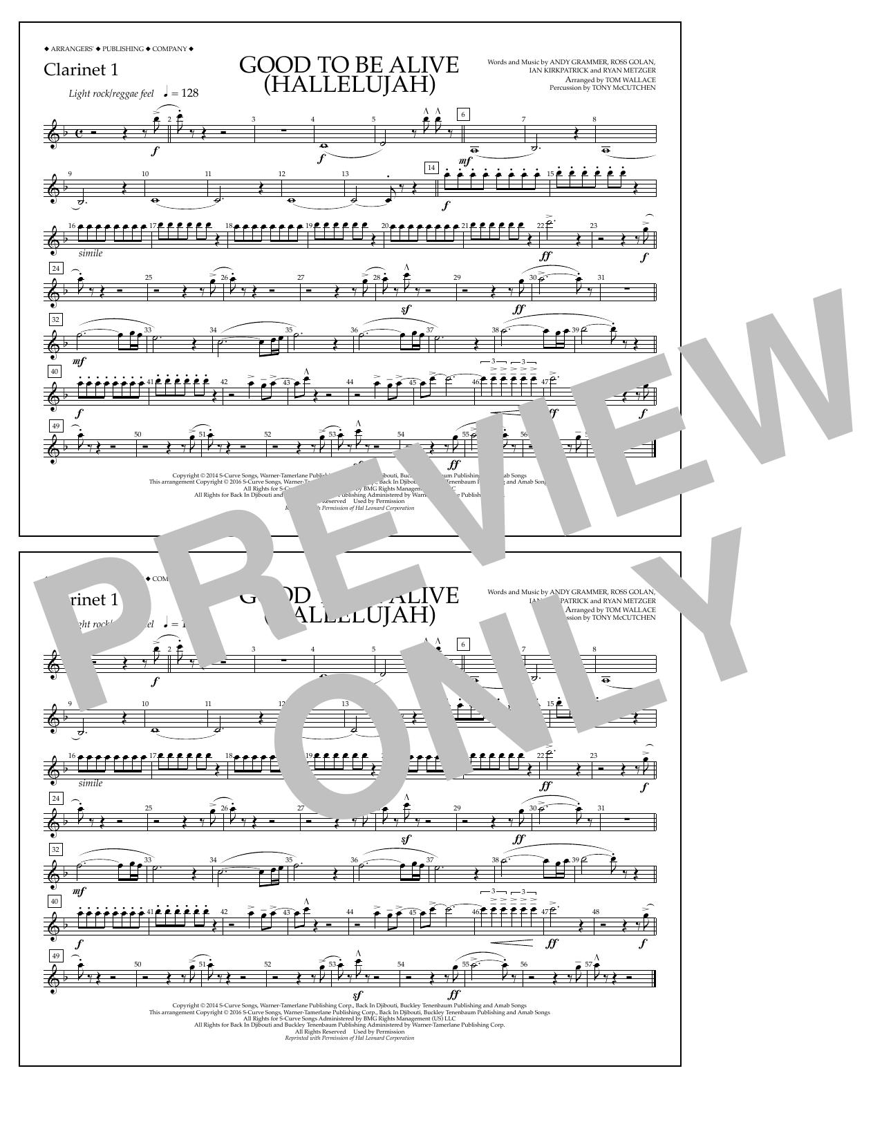 Good to Be Alive (Hallelujah) - Clarinet 1 Sheet Music