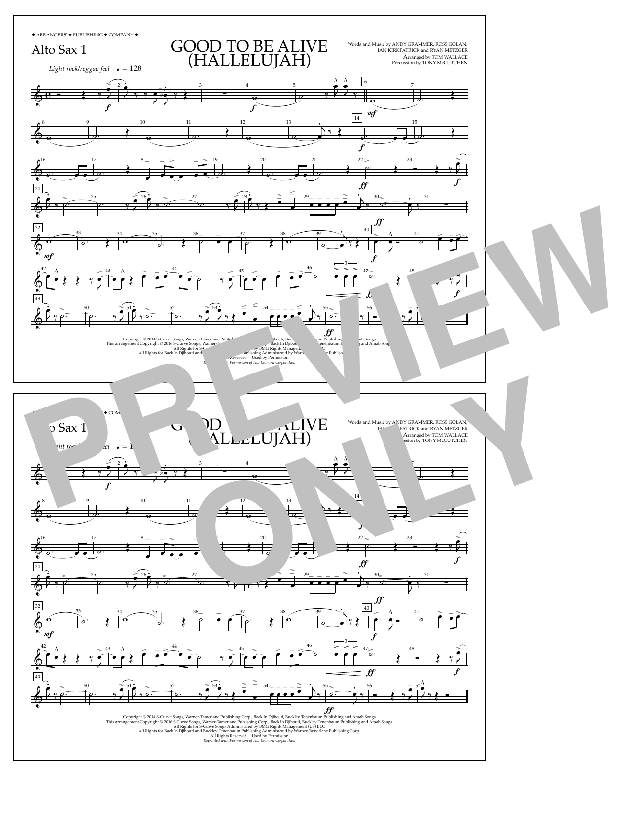 Good to Be Alive (Hallelujah) - Alto Sax 1 Sheet Music