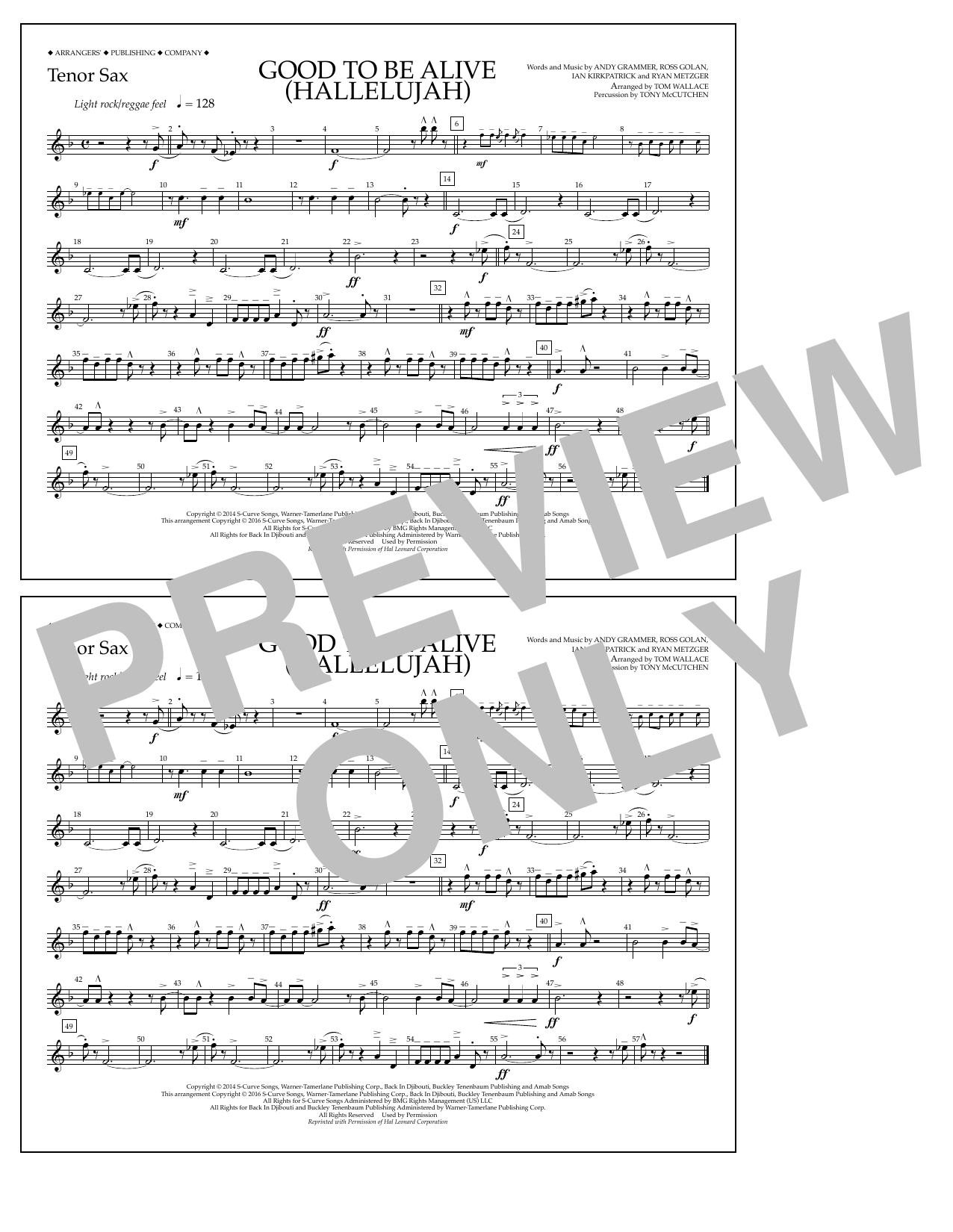 Good to Be Alive (Hallelujah) - Tenor Sax Sheet Music