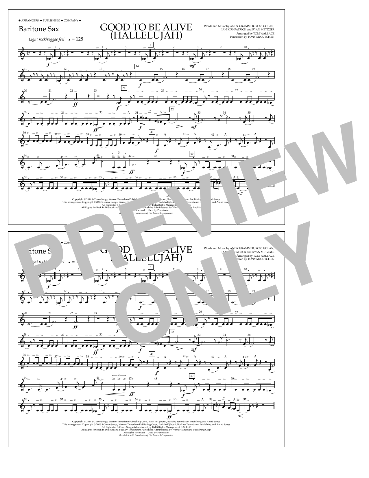Good to Be Alive (Hallelujah) - Baritone Sax Sheet Music