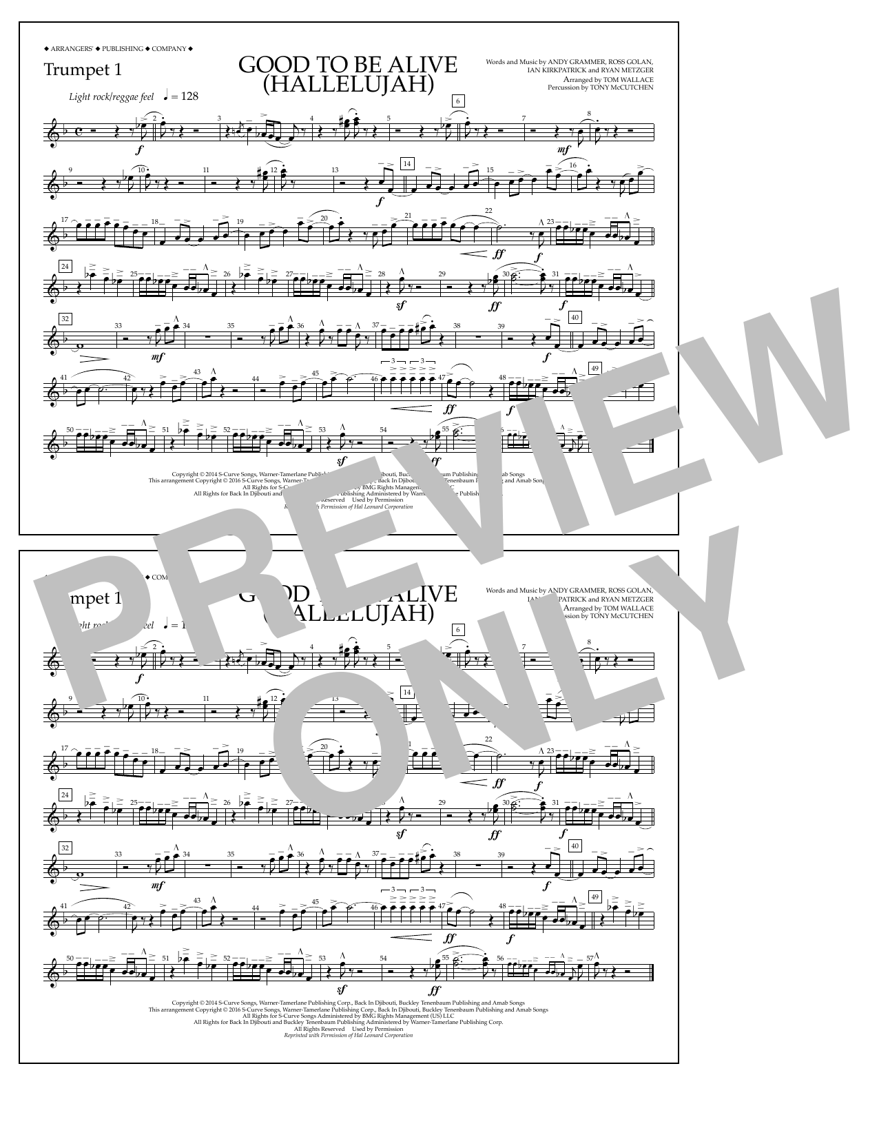 Good to Be Alive (Hallelujah) - Trumpet 1 Sheet Music