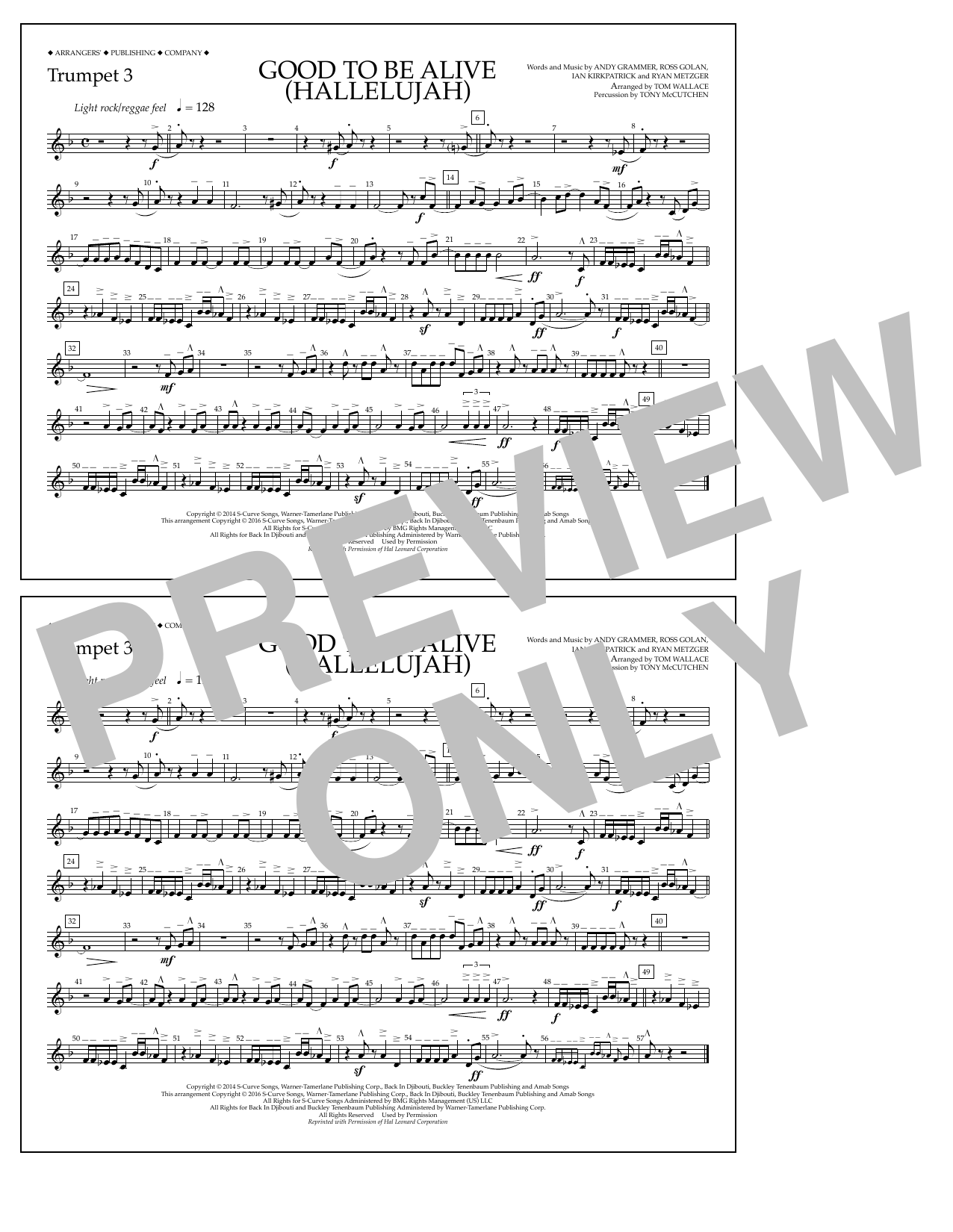 Good to Be Alive (Hallelujah) - Trumpet 3 Sheet Music