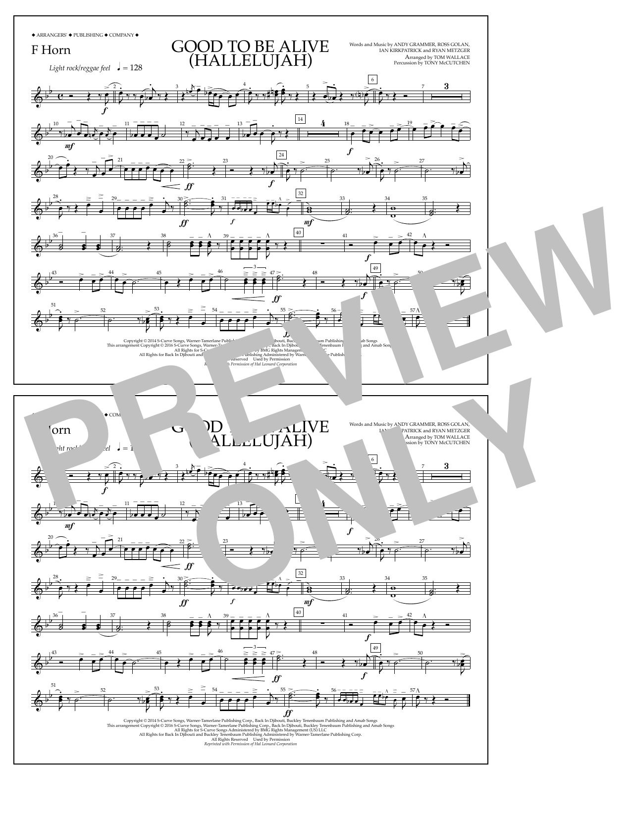 Good to Be Alive (Hallelujah) - F Horn Sheet Music