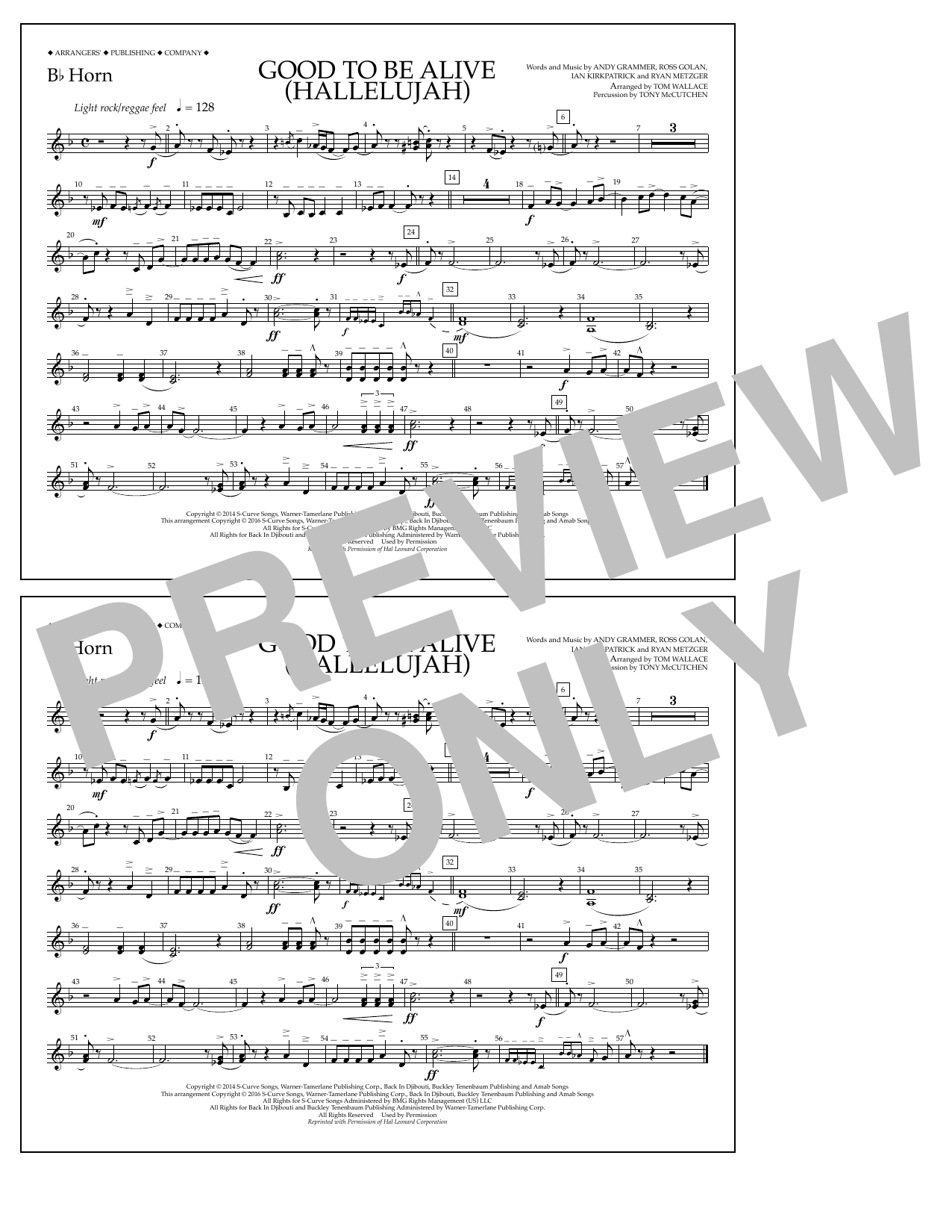 Good to Be Alive (Hallelujah) - Bb Horn Sheet Music