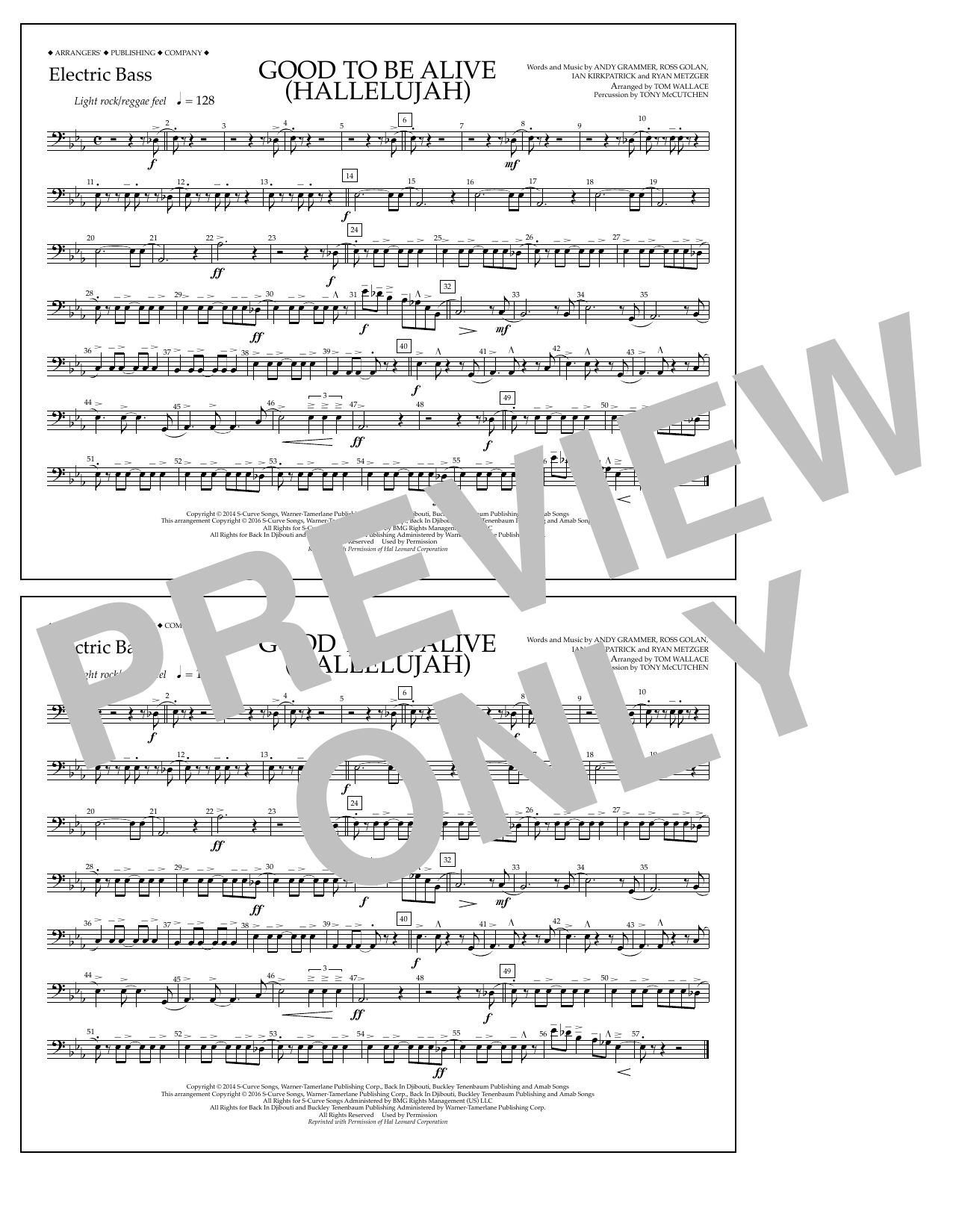 Good to Be Alive (Hallelujah) - Electric Bass Sheet Music