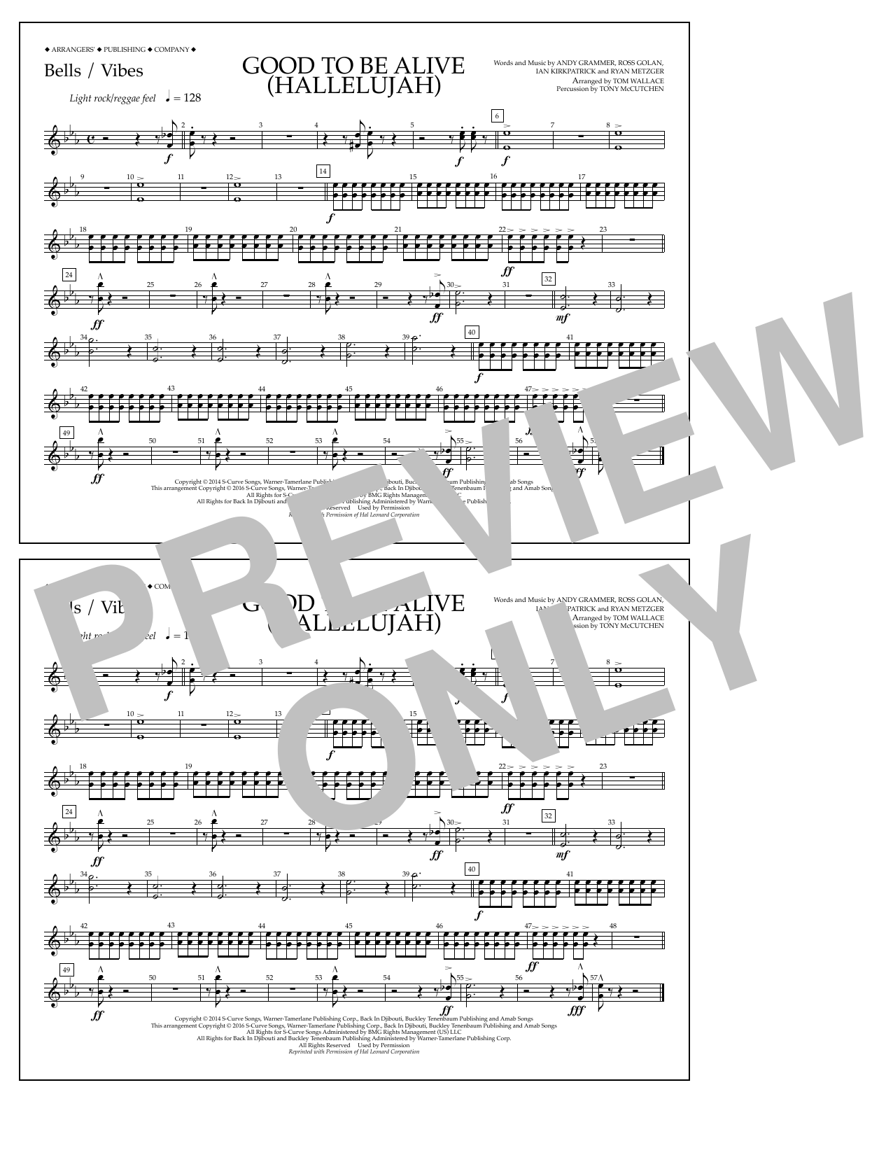 Good to Be Alive (Hallelujah) - Bells/Vibes Sheet Music