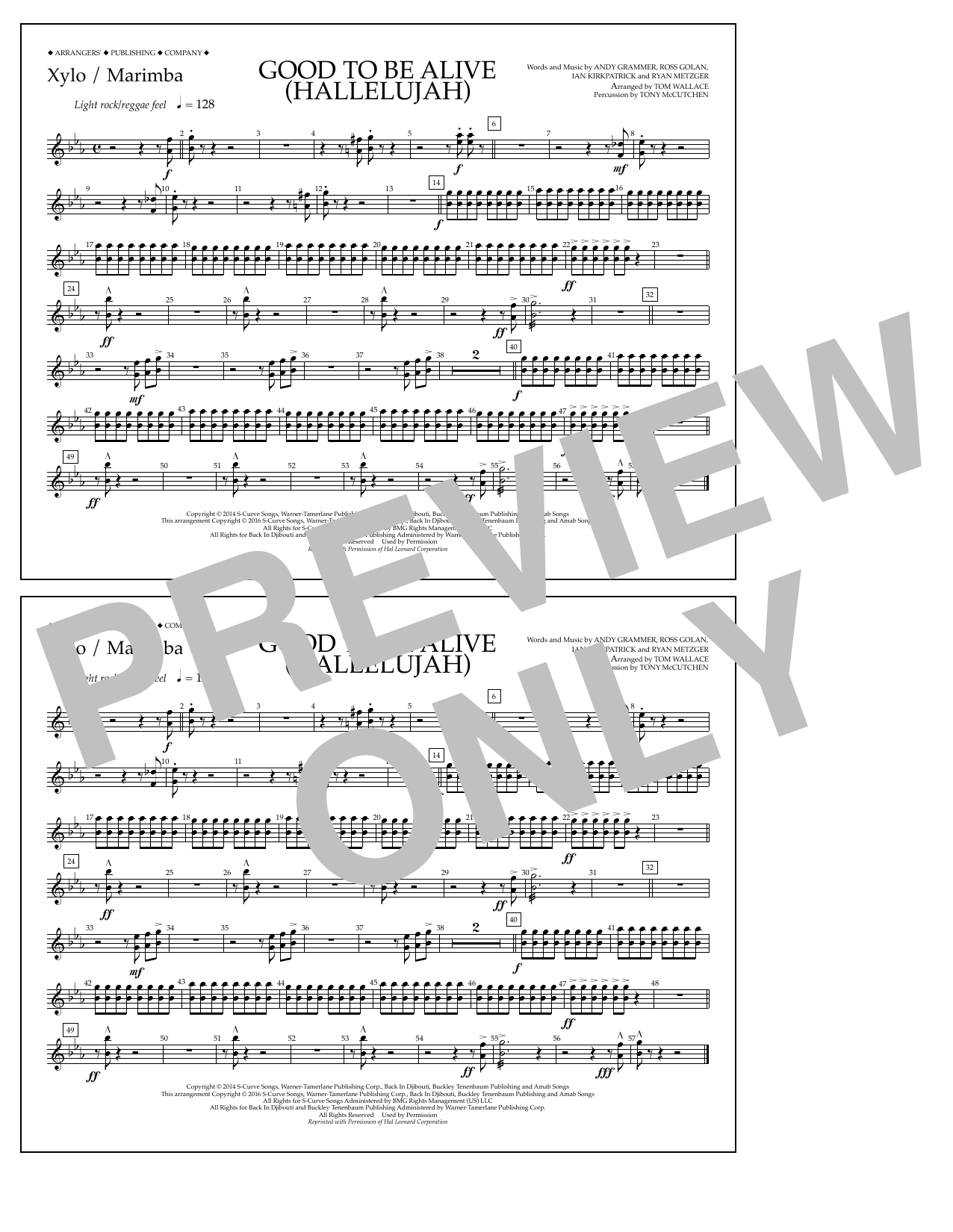 Good to Be Alive (Hallelujah) - Xylophone/Marimba Sheet Music