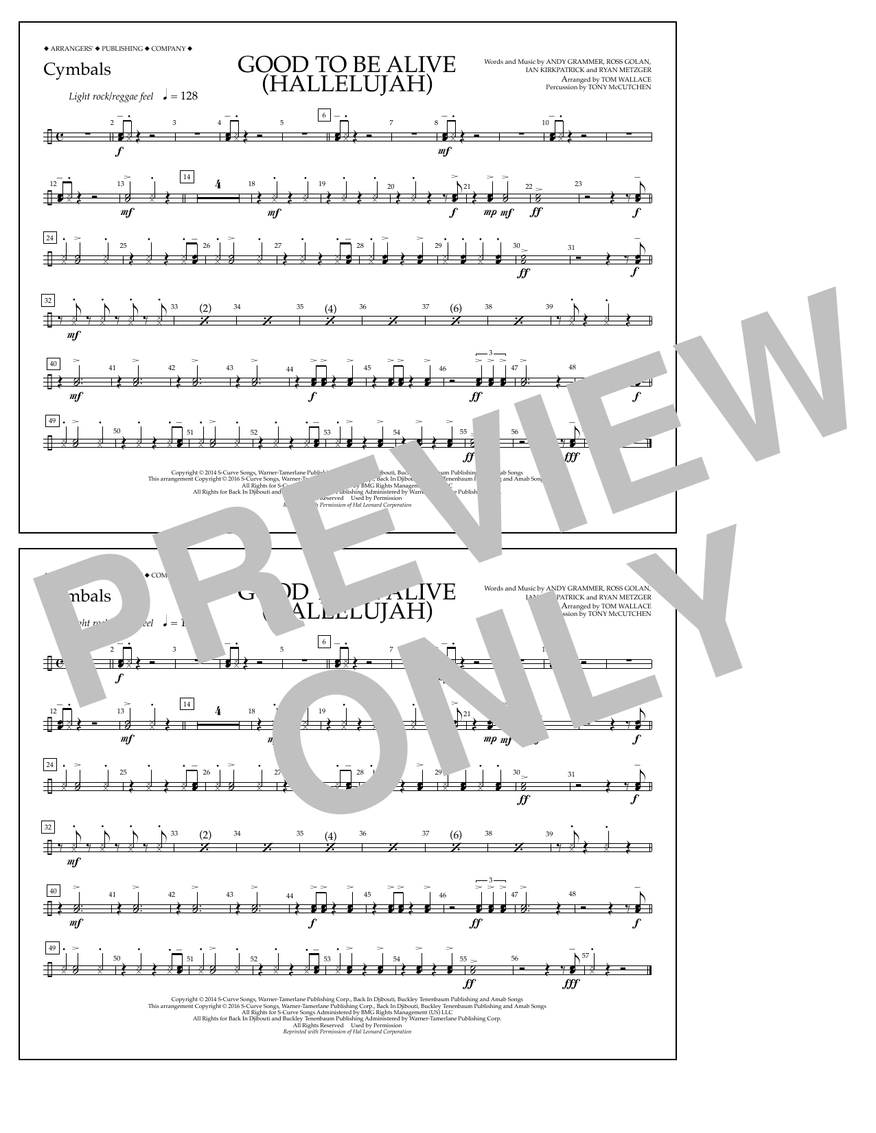 Good to Be Alive (Hallelujah) - Cymbals Sheet Music