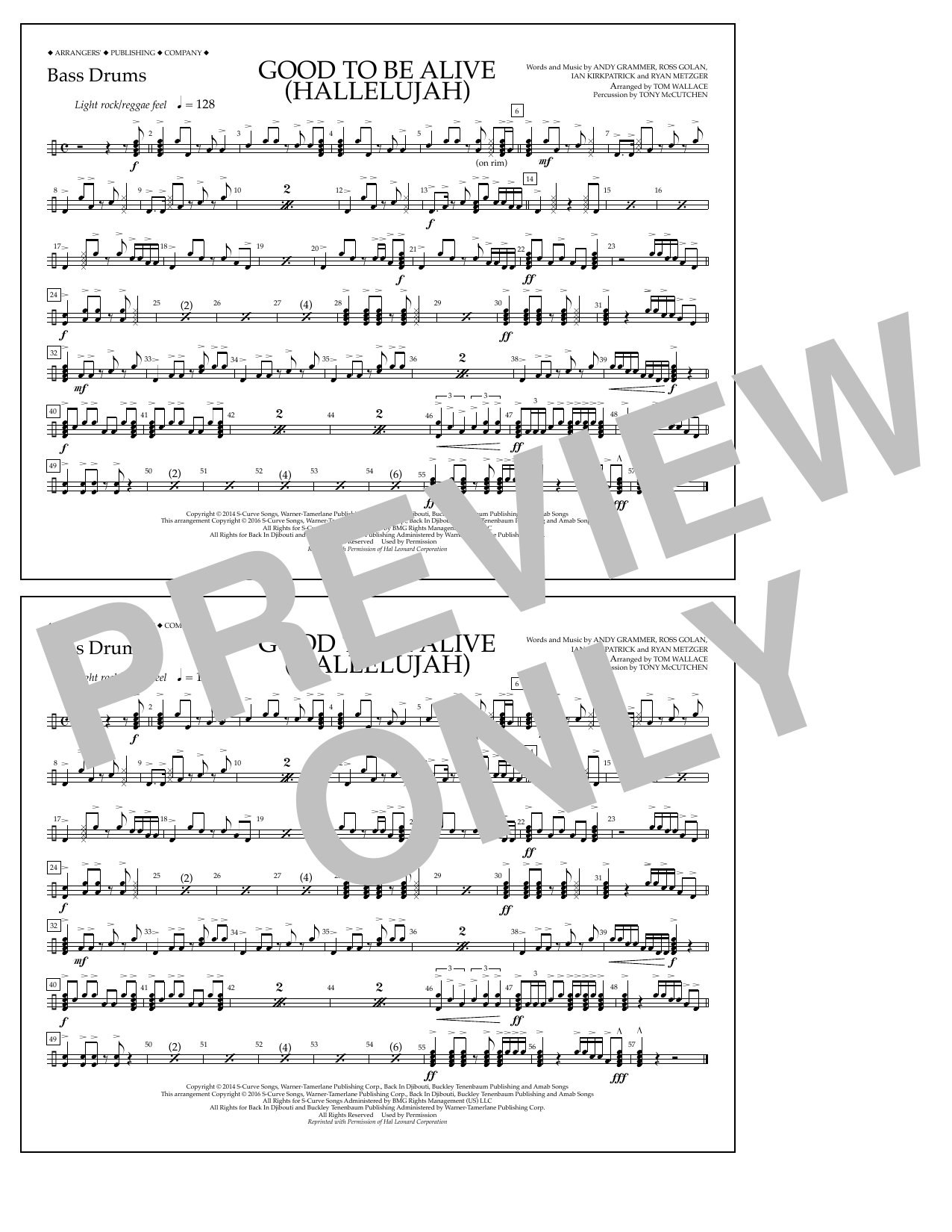 Good to Be Alive (Hallelujah) - Bass Drums Sheet Music