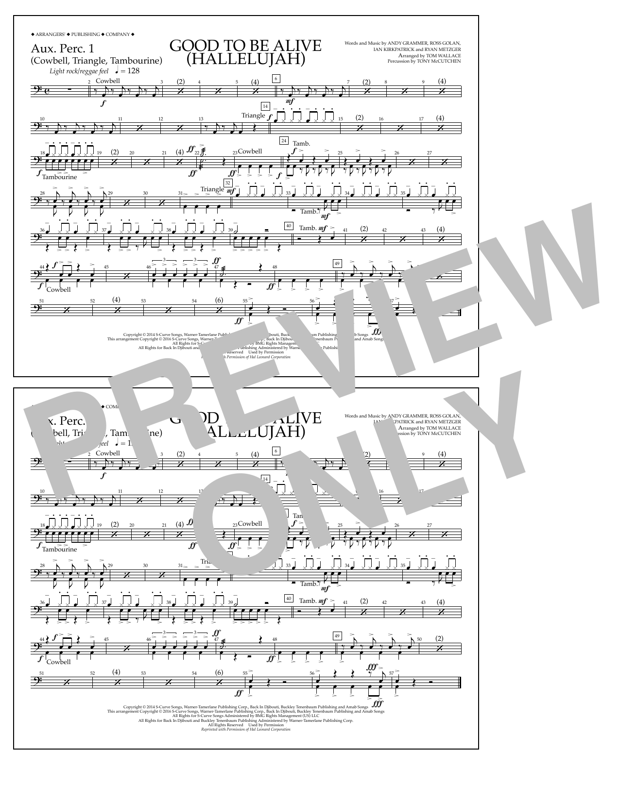 Good to Be Alive (Hallelujah) - Aux. Perc. 1 Sheet Music