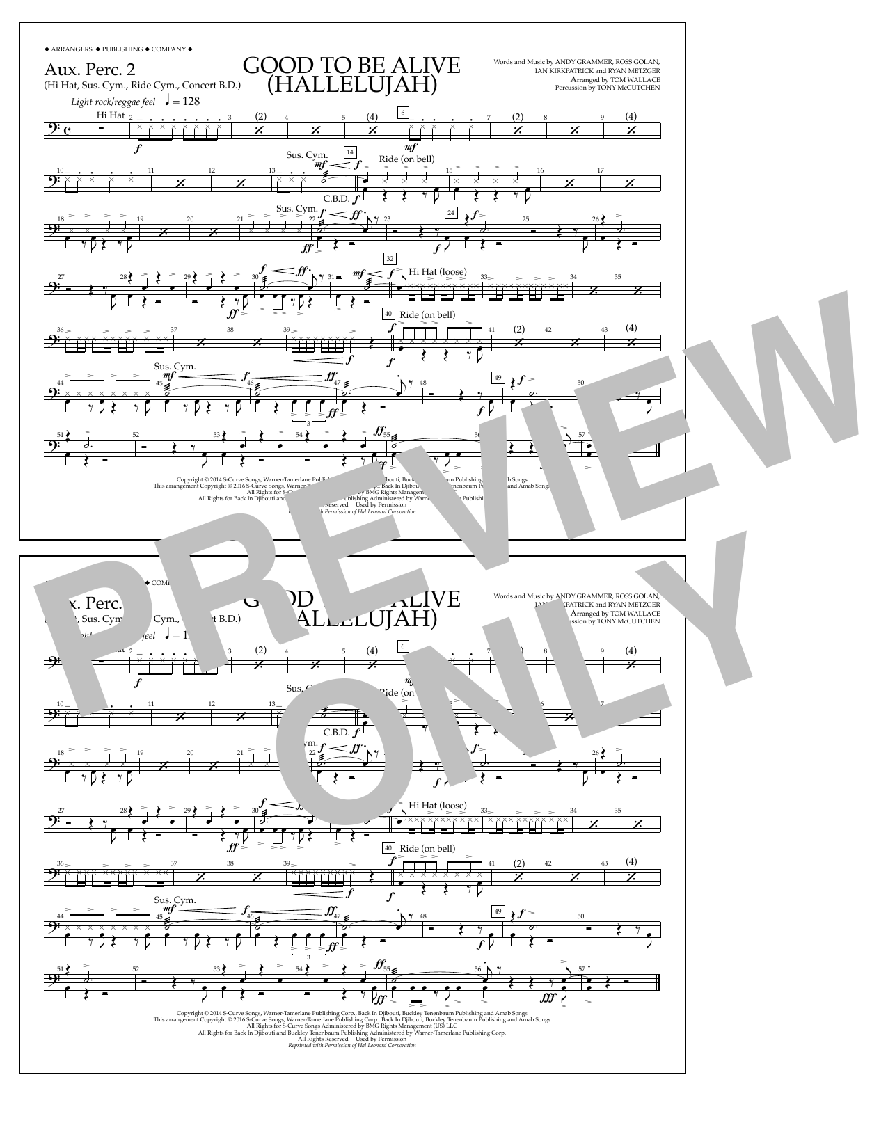 Good to Be Alive (Hallelujah) - Aux. Perc. 2 Sheet Music