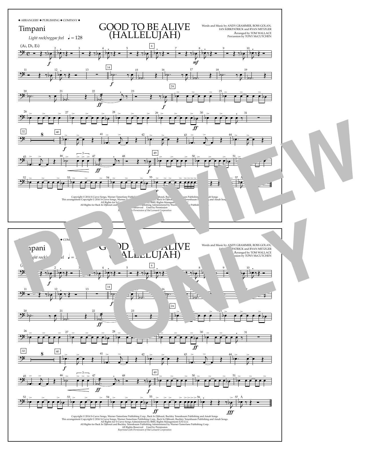 Good to Be Alive (Hallelujah) - Timpani Sheet Music