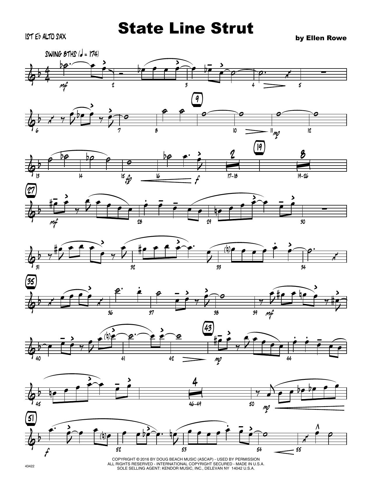 State Line Strut - 1st Eb Alto Saxophone Sheet Music