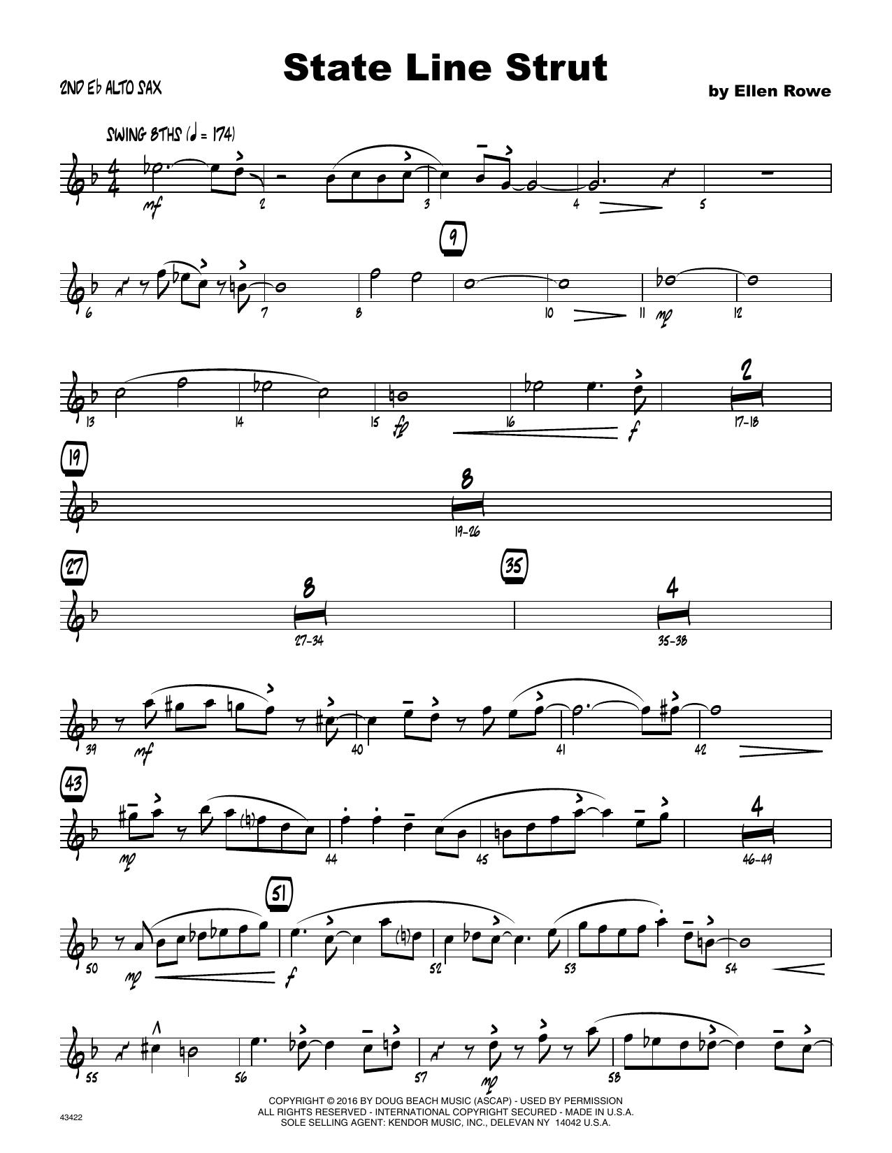 State Line Strut - 2nd Eb Alto Saxophone Sheet Music