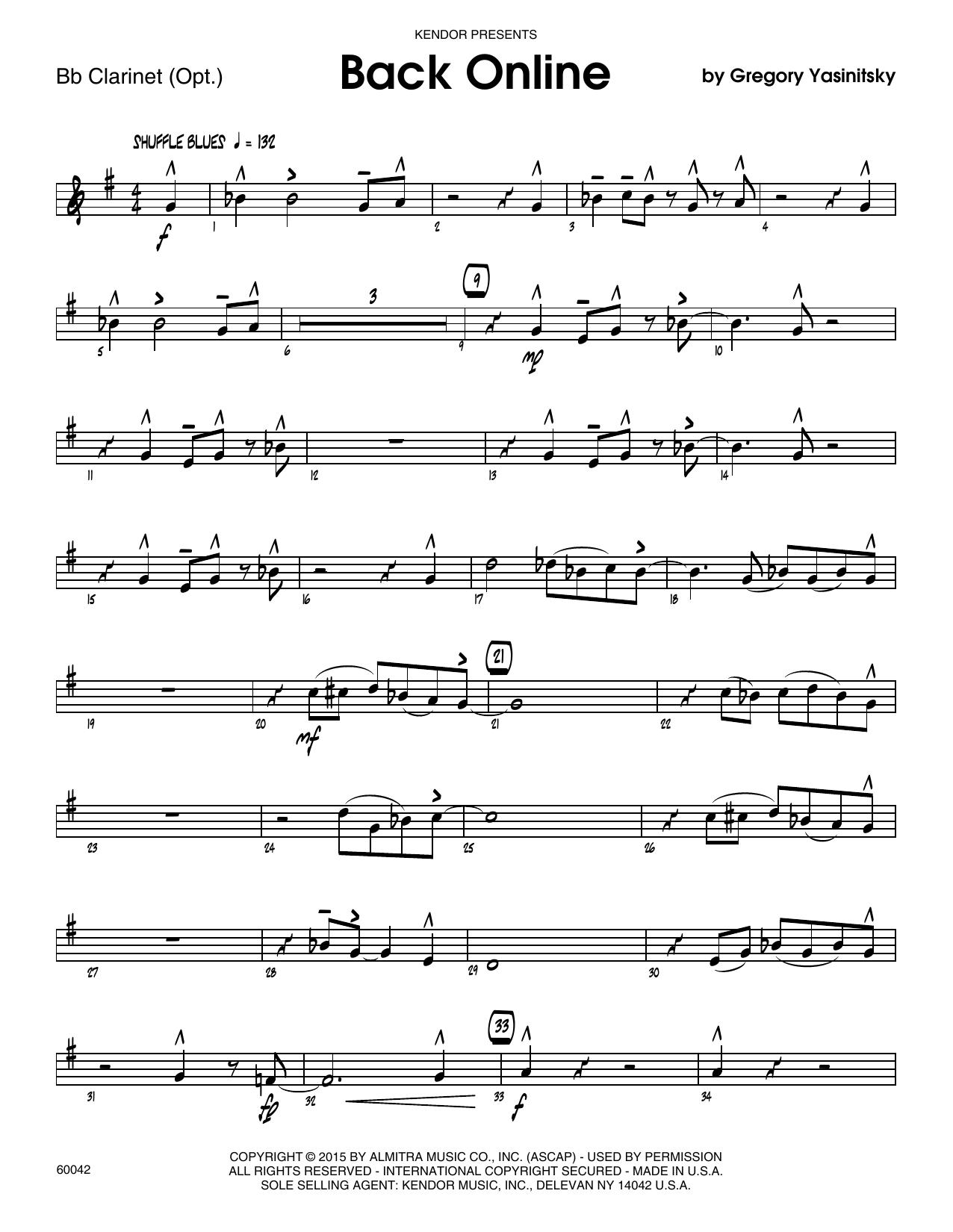 Back Online - Bb Clarinet Sheet Music