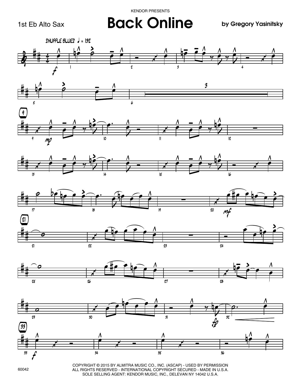 Back Online - 1st Eb Alto Saxophone Sheet Music