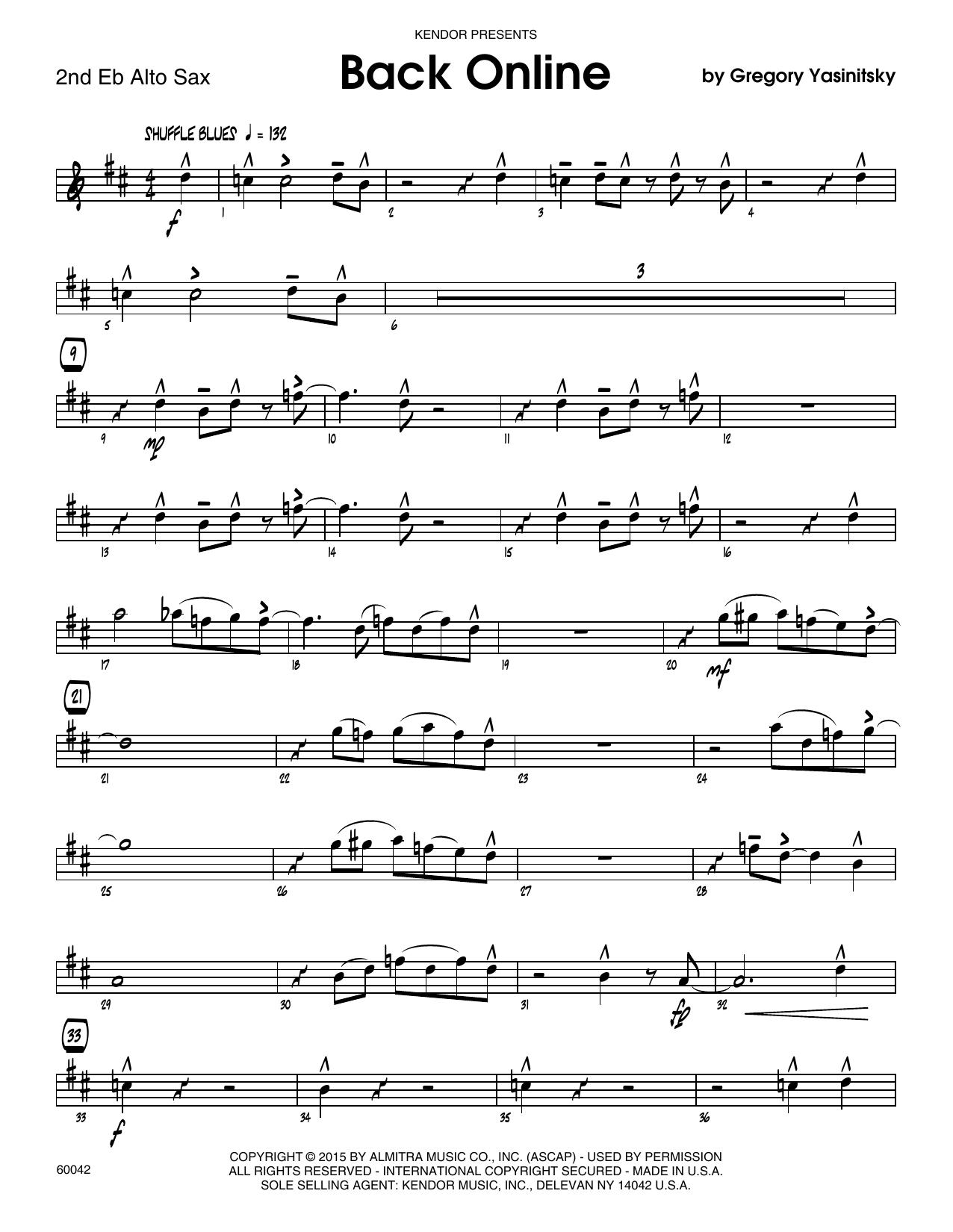 Back Online - 2nd Eb Alto Saxophone Sheet Music