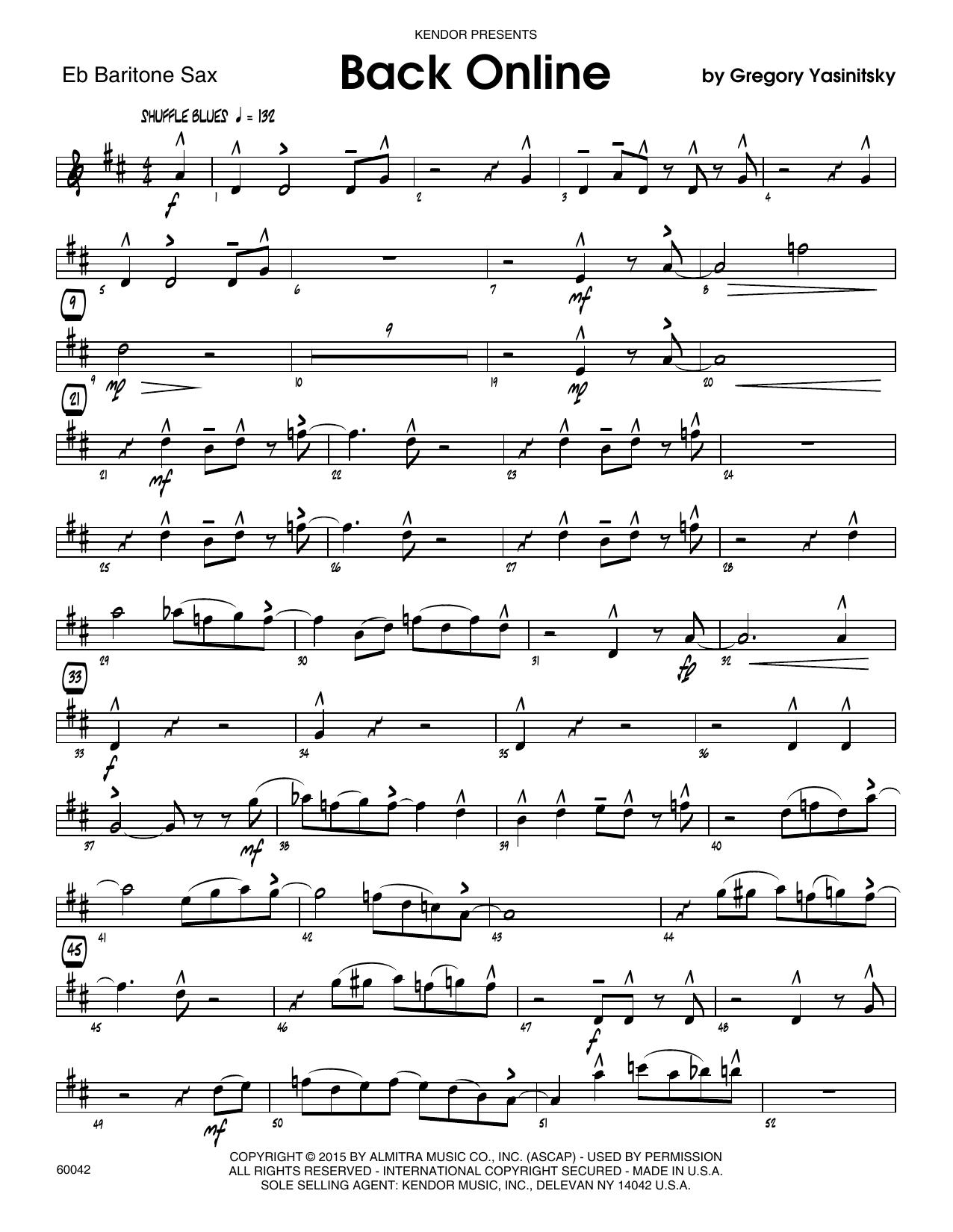 Back Online - Eb Baritone Saxophone Sheet Music
