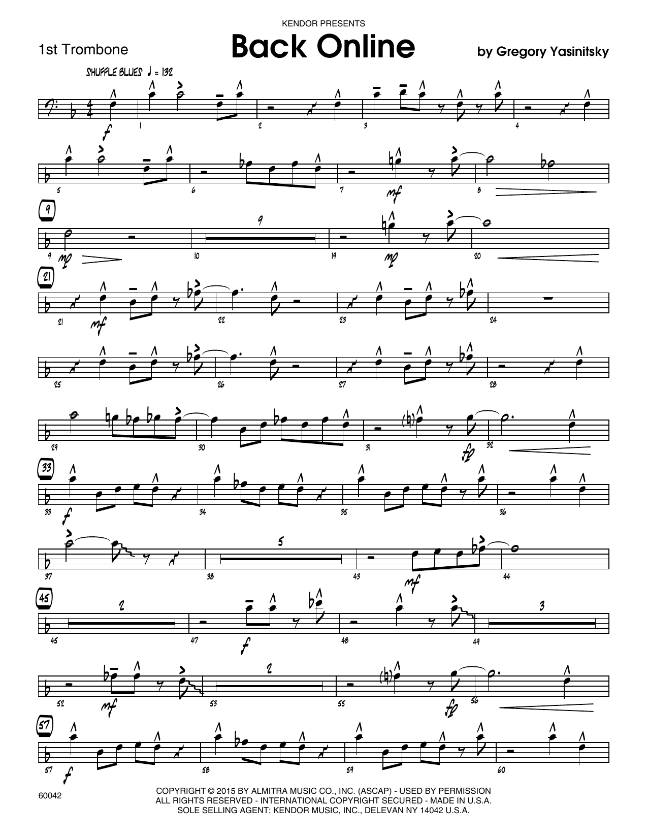Back Online - 1st Trombone Sheet Music