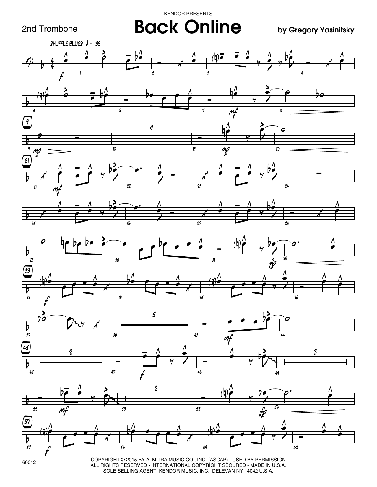 Back Online - 2nd Trombone Sheet Music