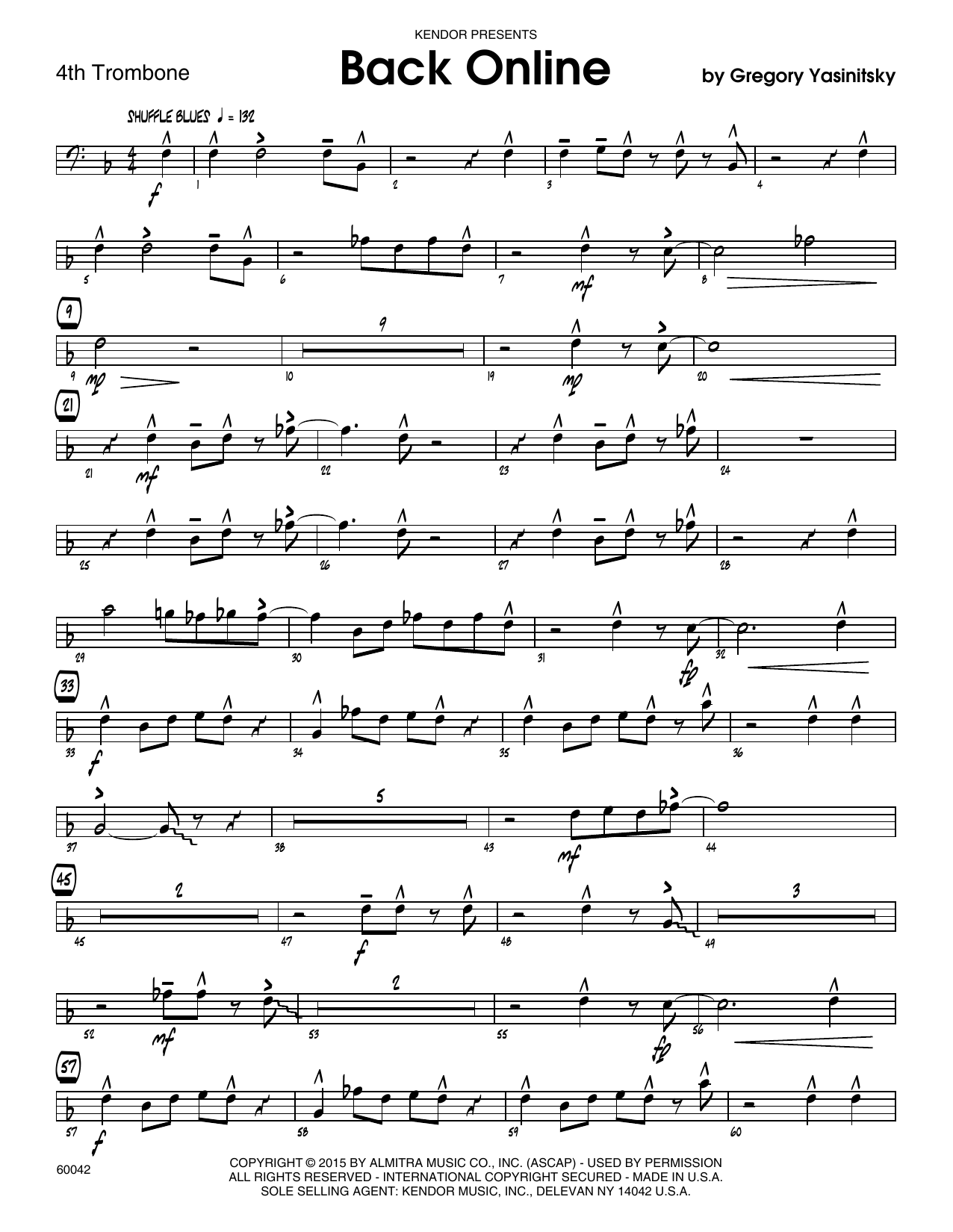 Back Online - 4th Trombone Sheet Music