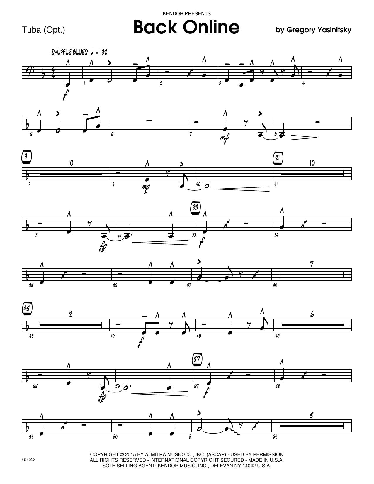 Back Online - Tuba by Gregory Yasinitsky Jazz Ensemble Digital Sheet Music