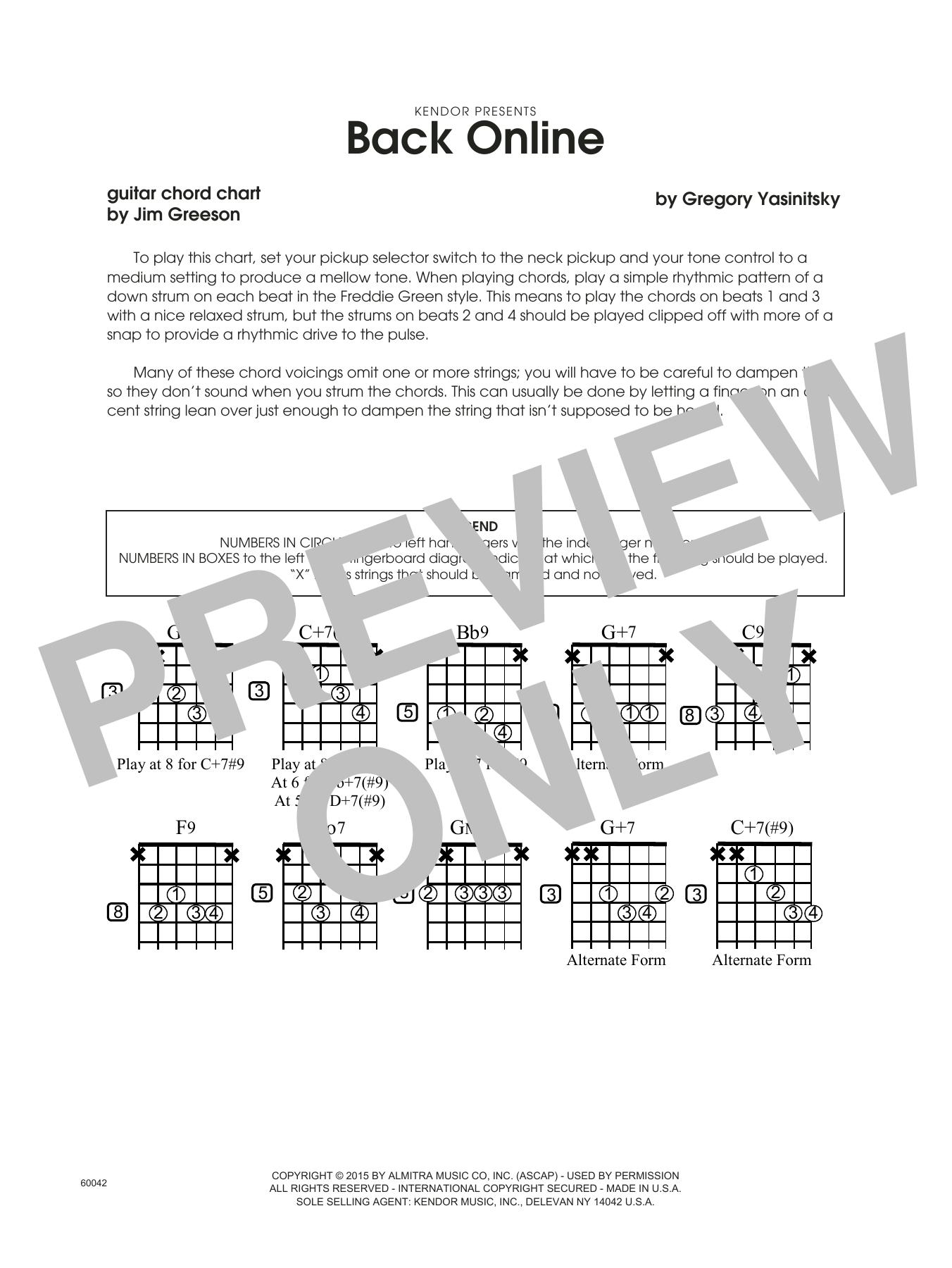 Back Online - Guitar Chord Chart Sheet Music