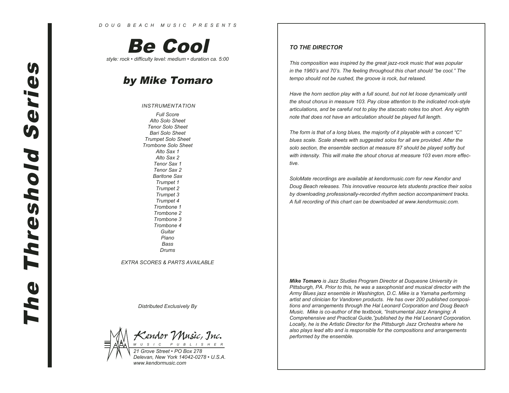 Be Cool (COMPLETE) sheet music for jazz band by Mike Tomaro. Score Image Preview.